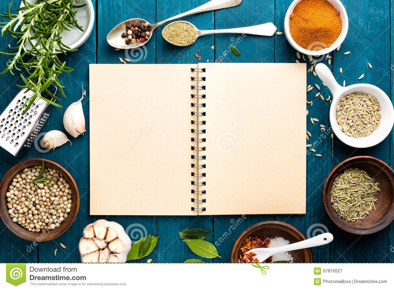 Culinary Background And Recipe Book With Spices On Wooden