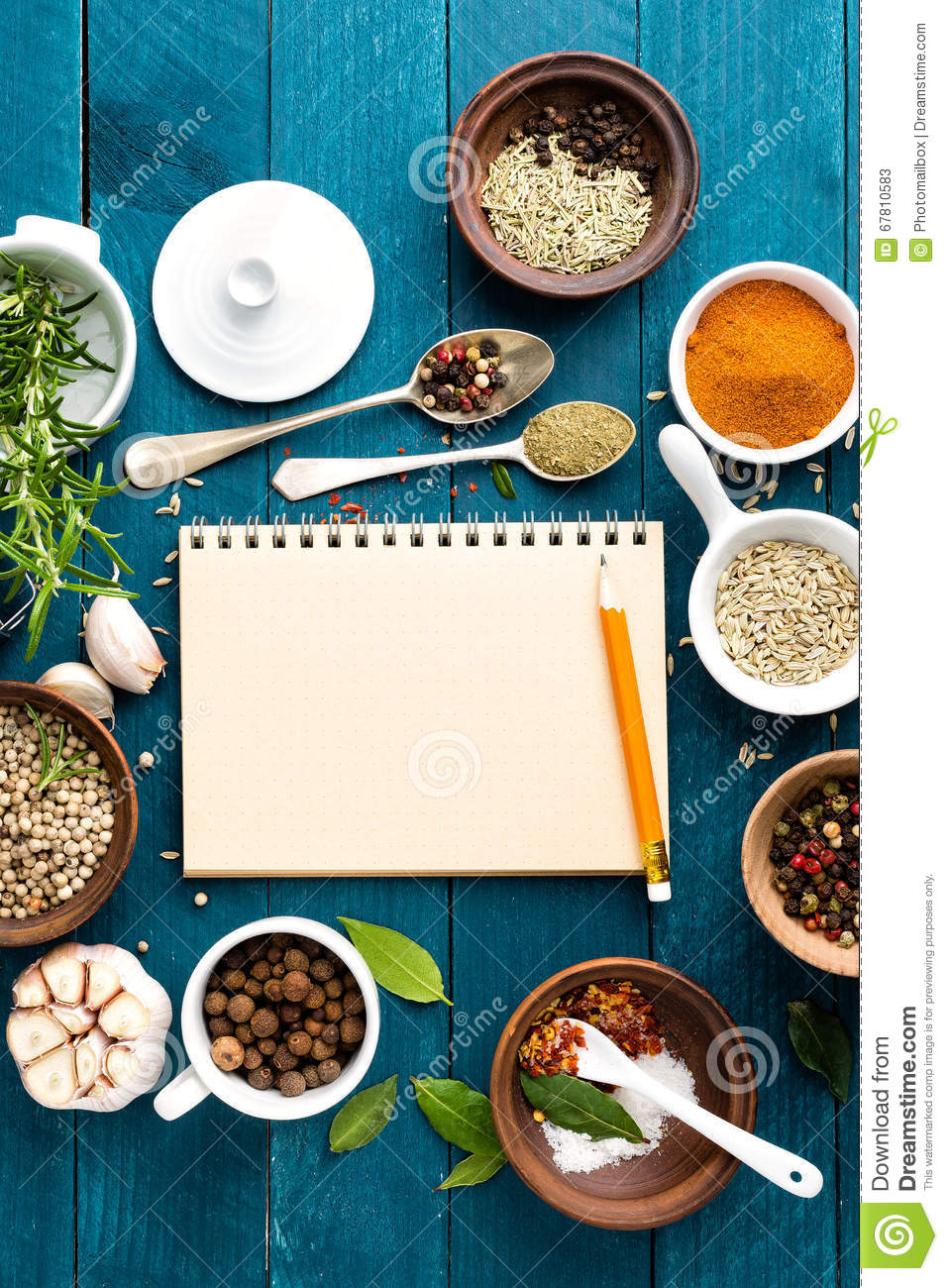 Culinary background and recipe book with spices on wooden table royalty free stock photo forumfinder Images