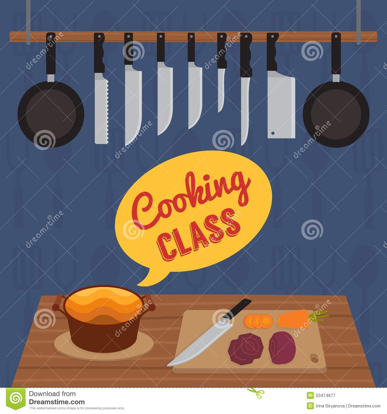 Culinary Cooking Class Stock Vector. Image Of Preparation
