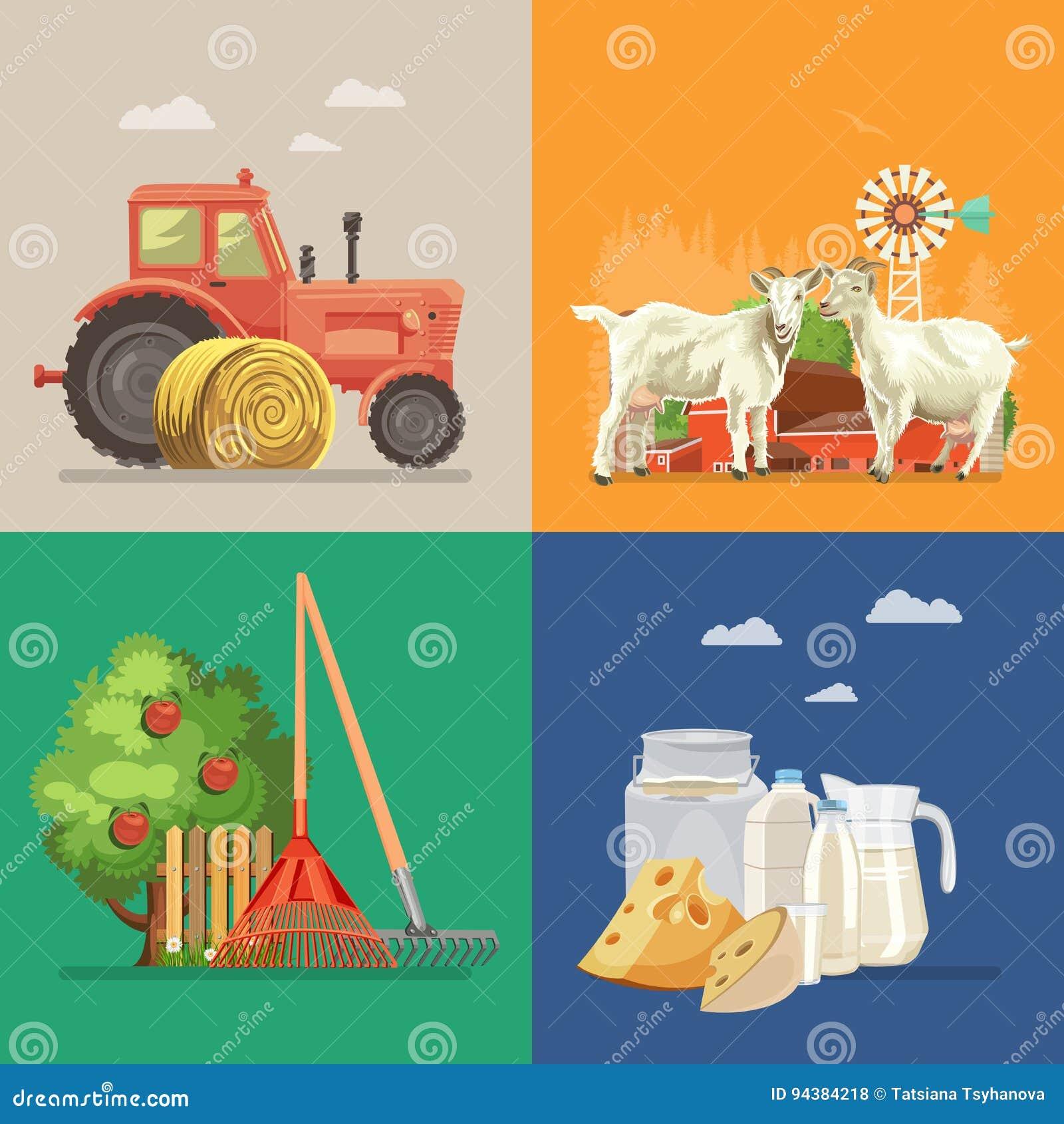 Cultive el paisaje rural con las cabras, lechería, tractor, manzano Línea arte Ejemplo del vector de la agricultura