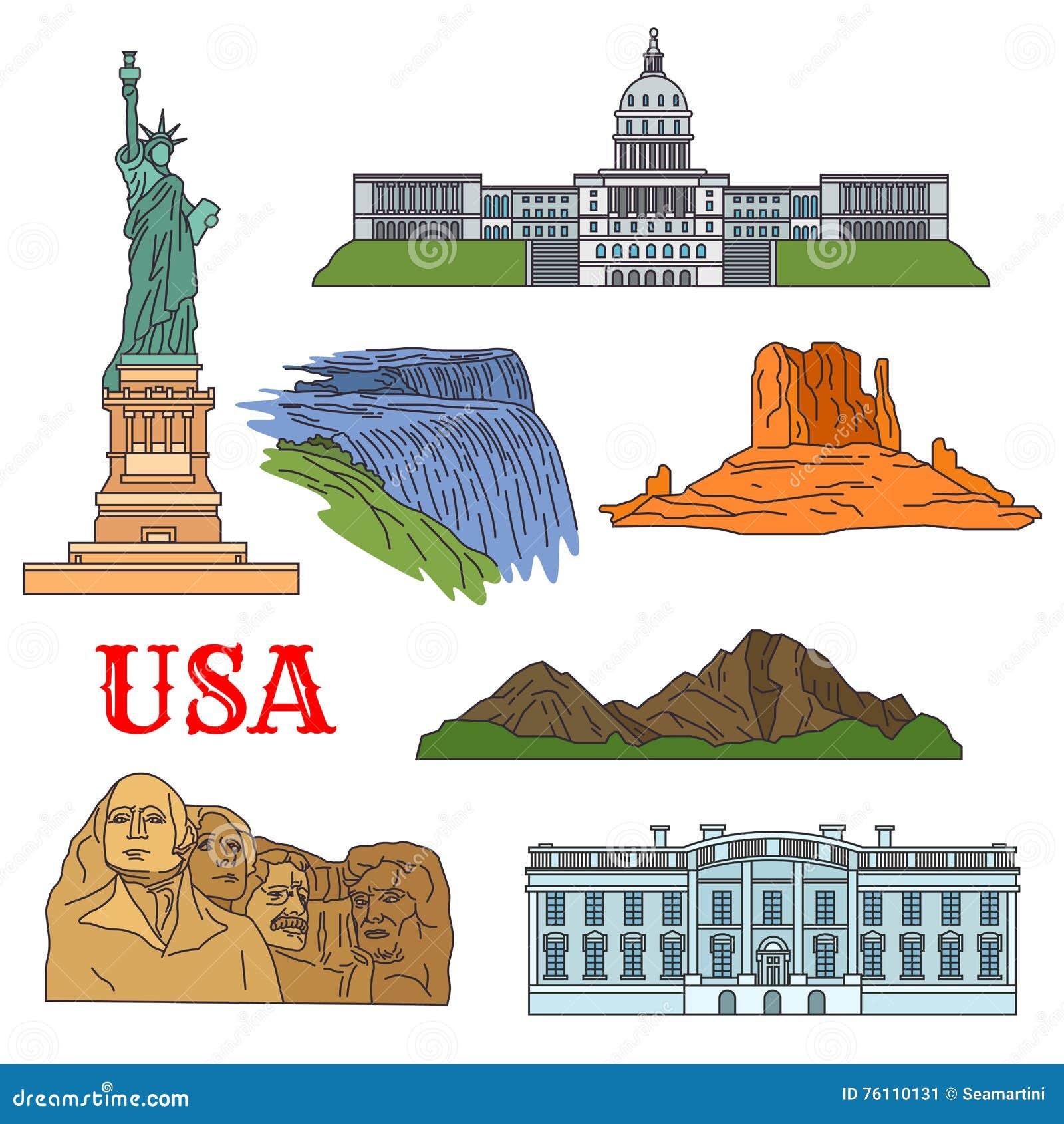 Cultura, storia, viste di viaggio della natura dell icona di U.S.A.