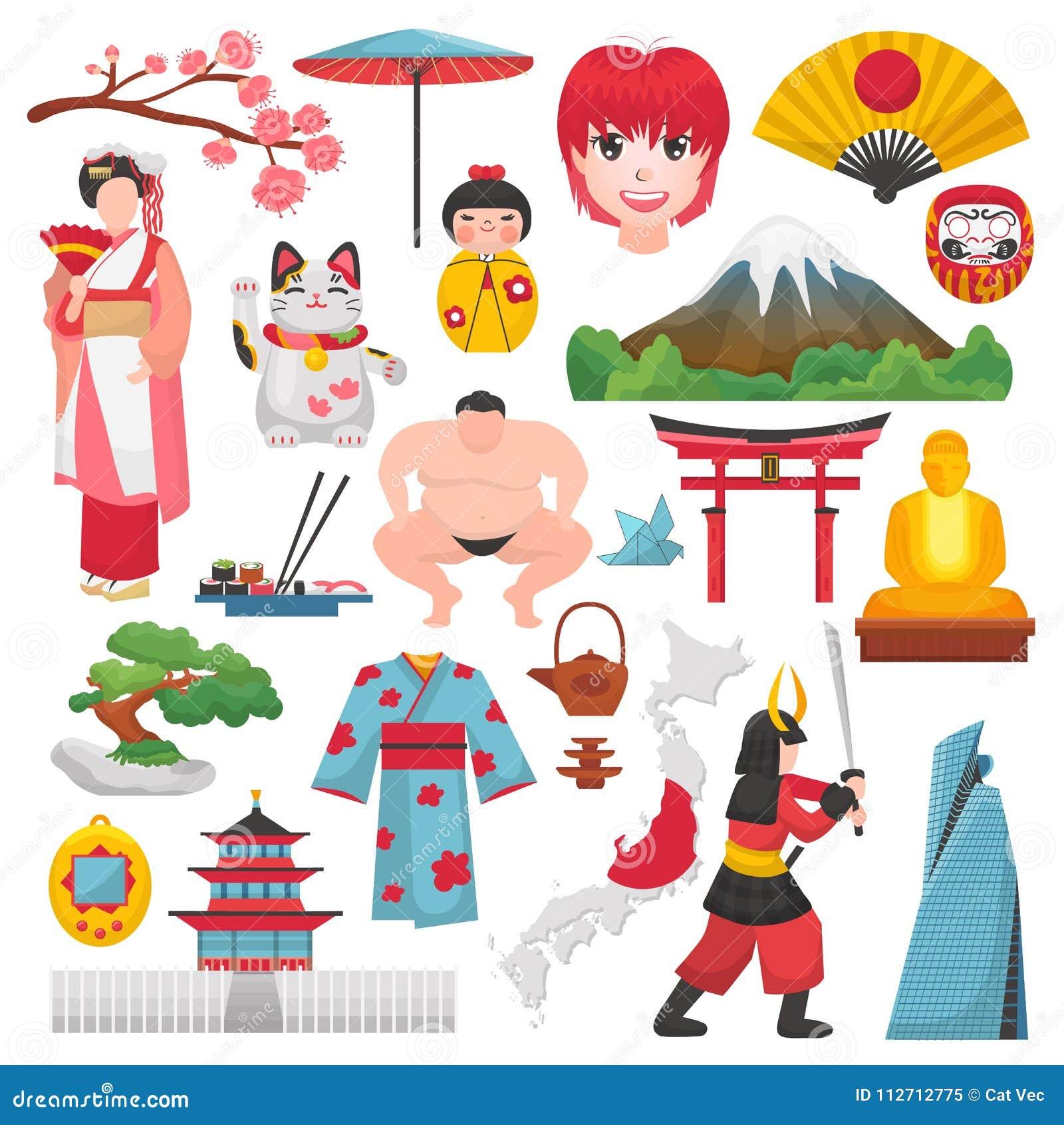 fe8bdabd5 Cultura Y Geisha Japoneses Del Vector De Japón En Kimono Con El Flor ...