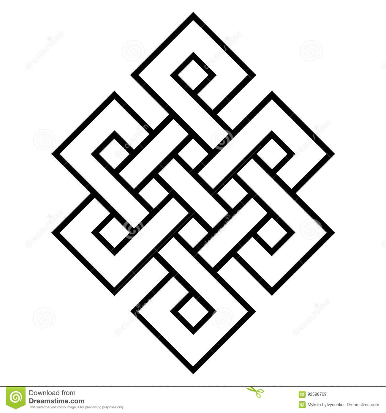 Cultural Symbol Of Buddhism Endless Knot Stock Vector Illustration