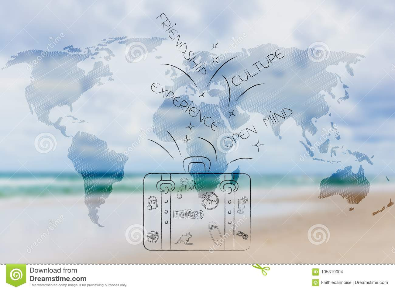 Cultural Trips, World Map Overlay And Luggage With ...