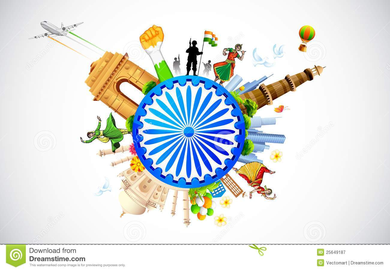 Illustration of monument and dancer showing diverse culture of India.