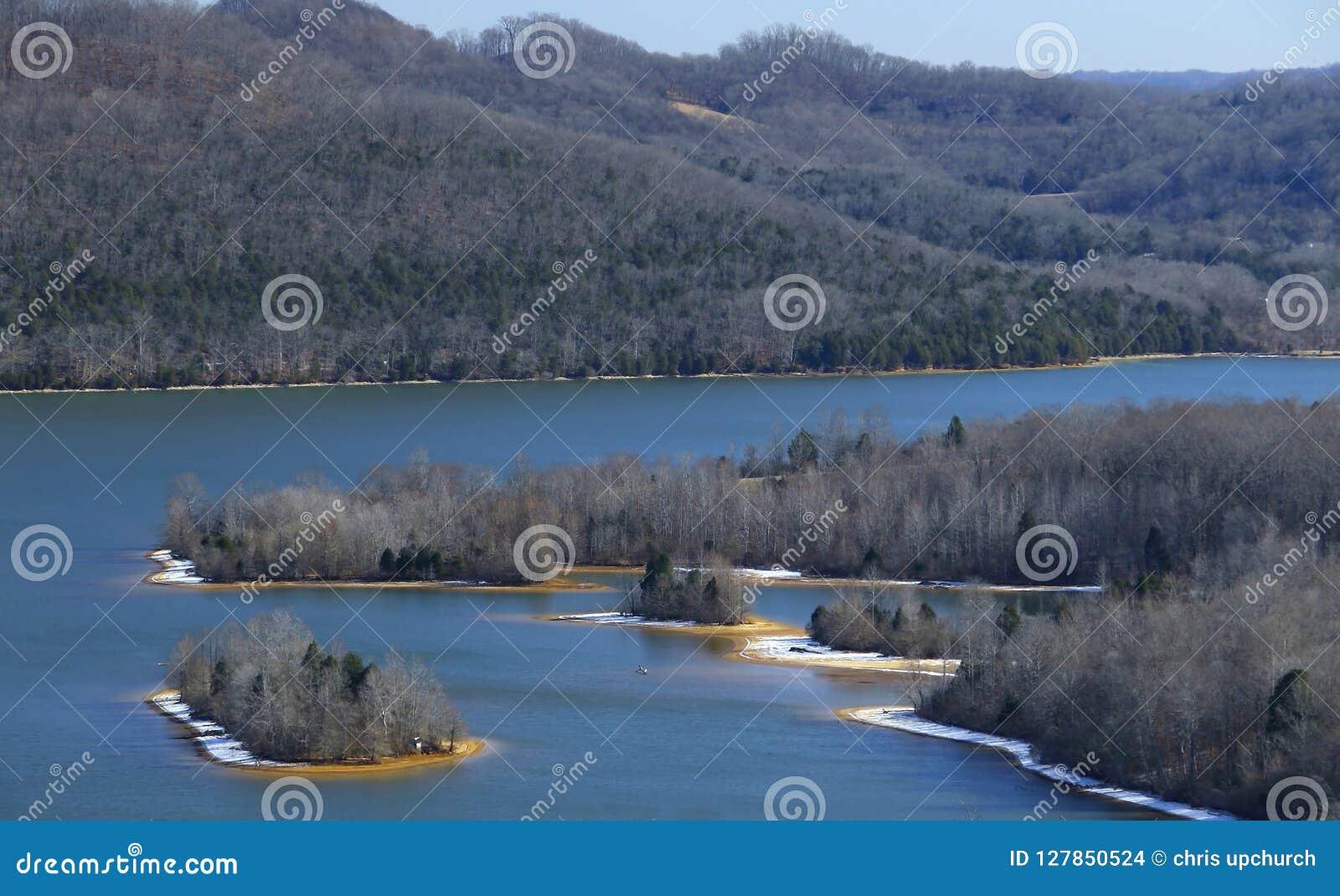Beautiful cordell hull lake in the winter