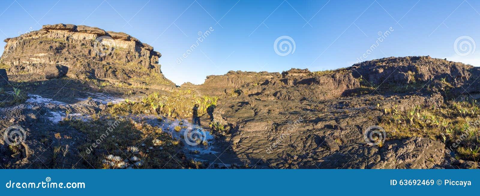 Cumbre del soporte Roraima, piedras negras volcánicas, Venezuela