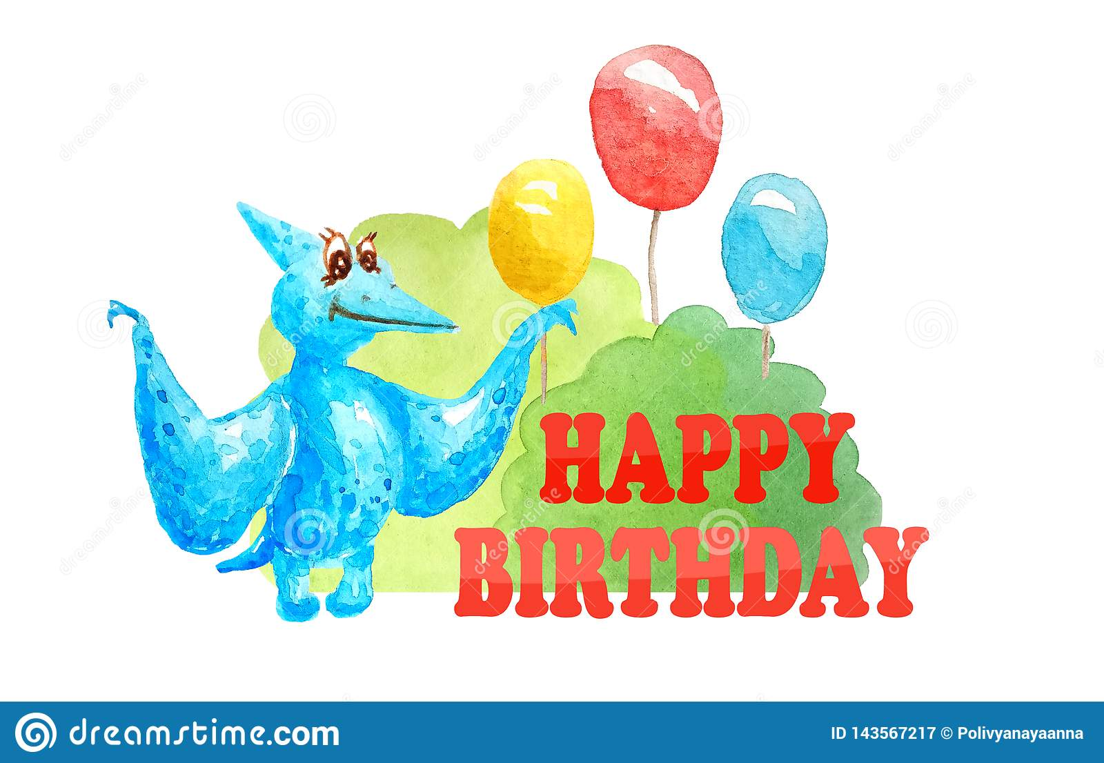 Cumpleaños de la tarjeta de felicitación feliz con el pterodáctilo azul del dinosaurio y tres impulsos y arbustos en el fondo bla