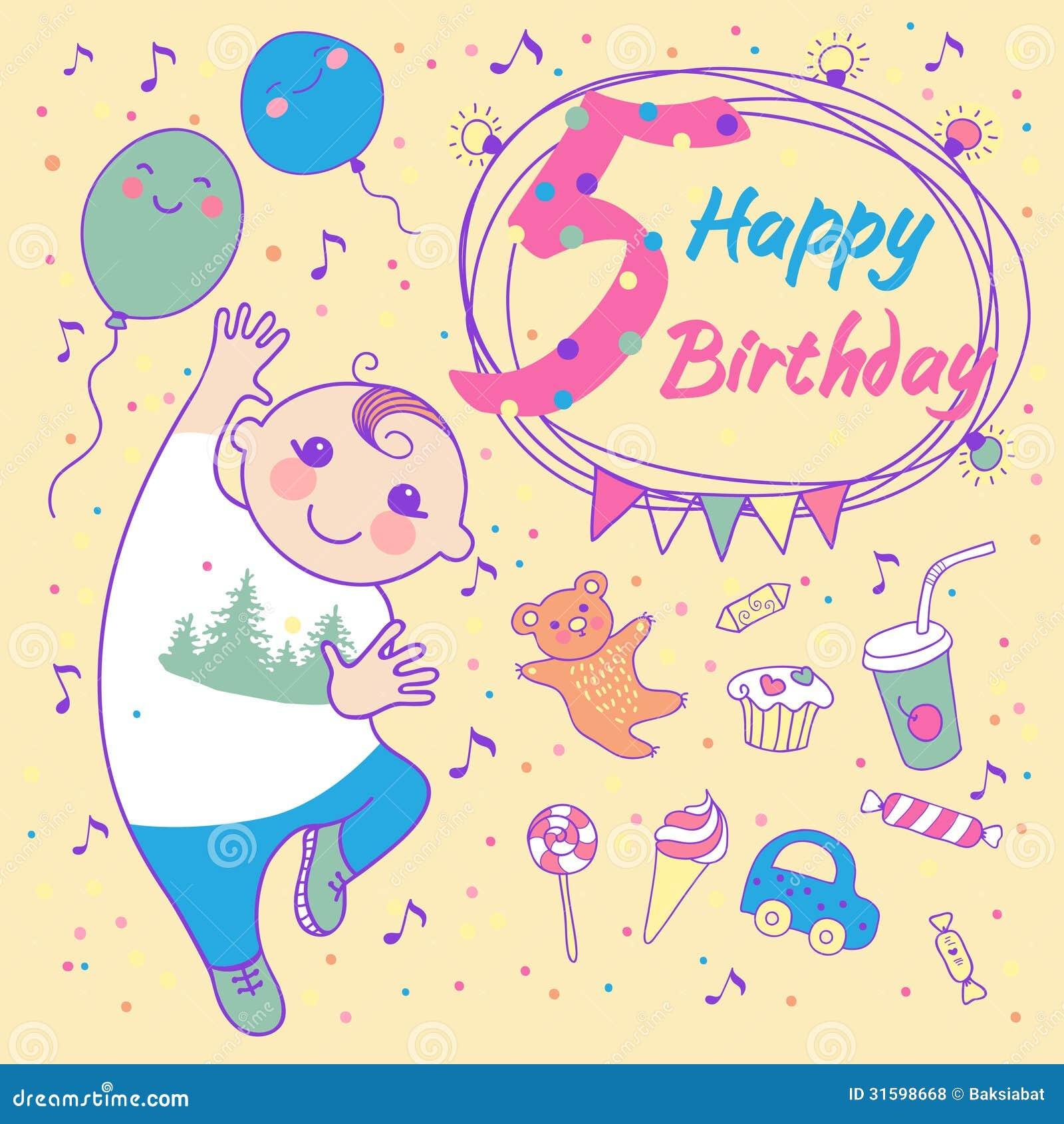 Cumpleaños Del Niño Pequeño 5 Años Tarjeta De Felicitación