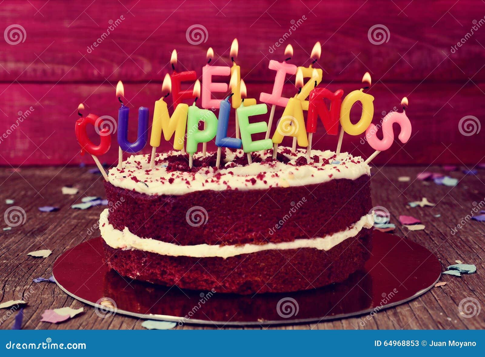 Cumpleanos Di Feliz, Buon Compleanno Nello Spagnolo Immagine Stock