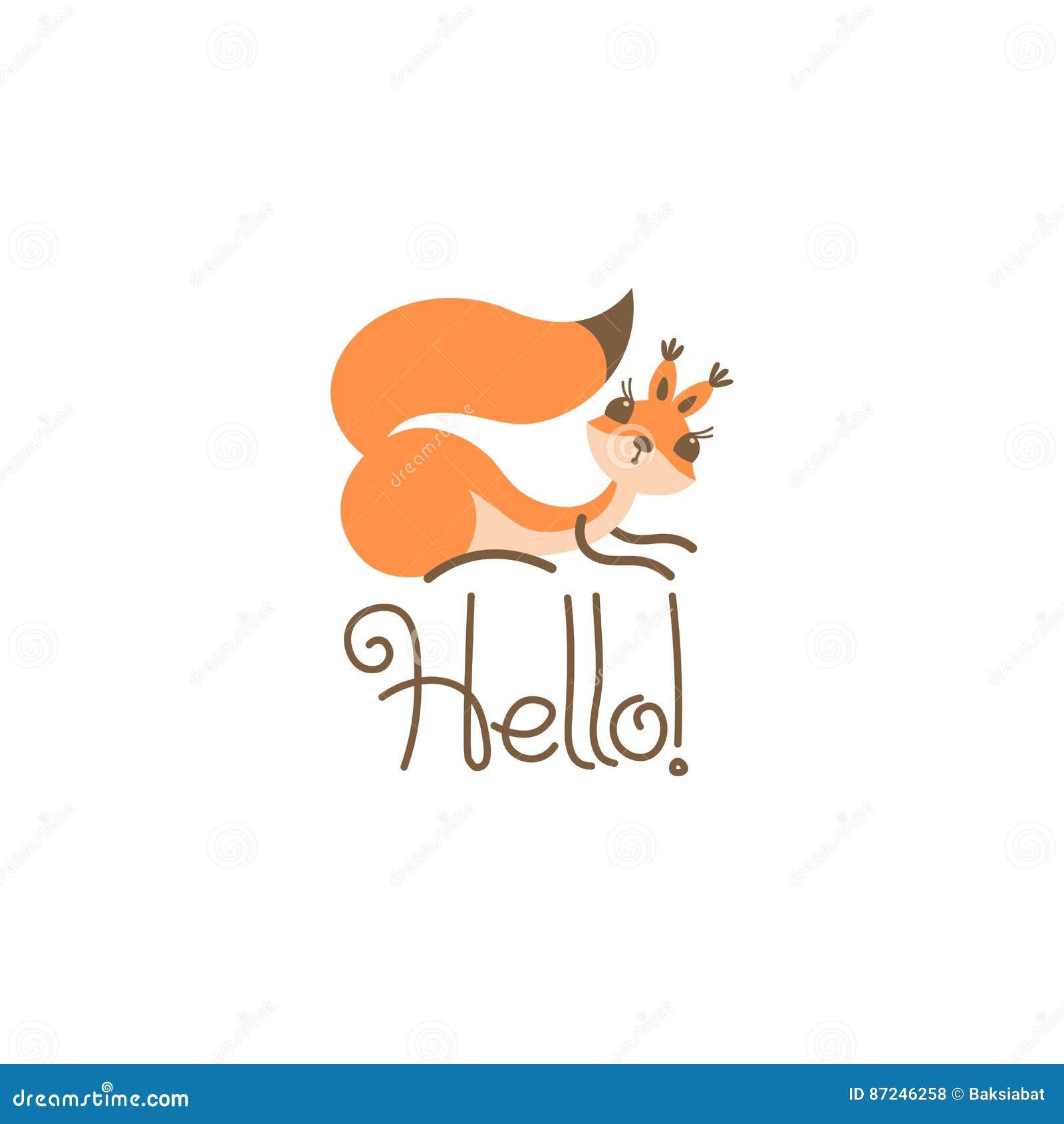 Cumprimento bonito do esquilo dos desenhos animados Olá! pouco engraçado Ilustração do vetor