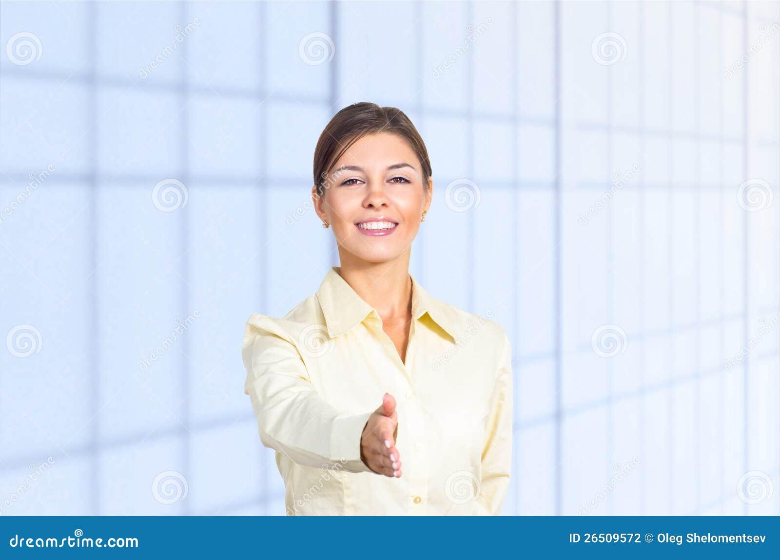 Cumprimento da mulher de negócio