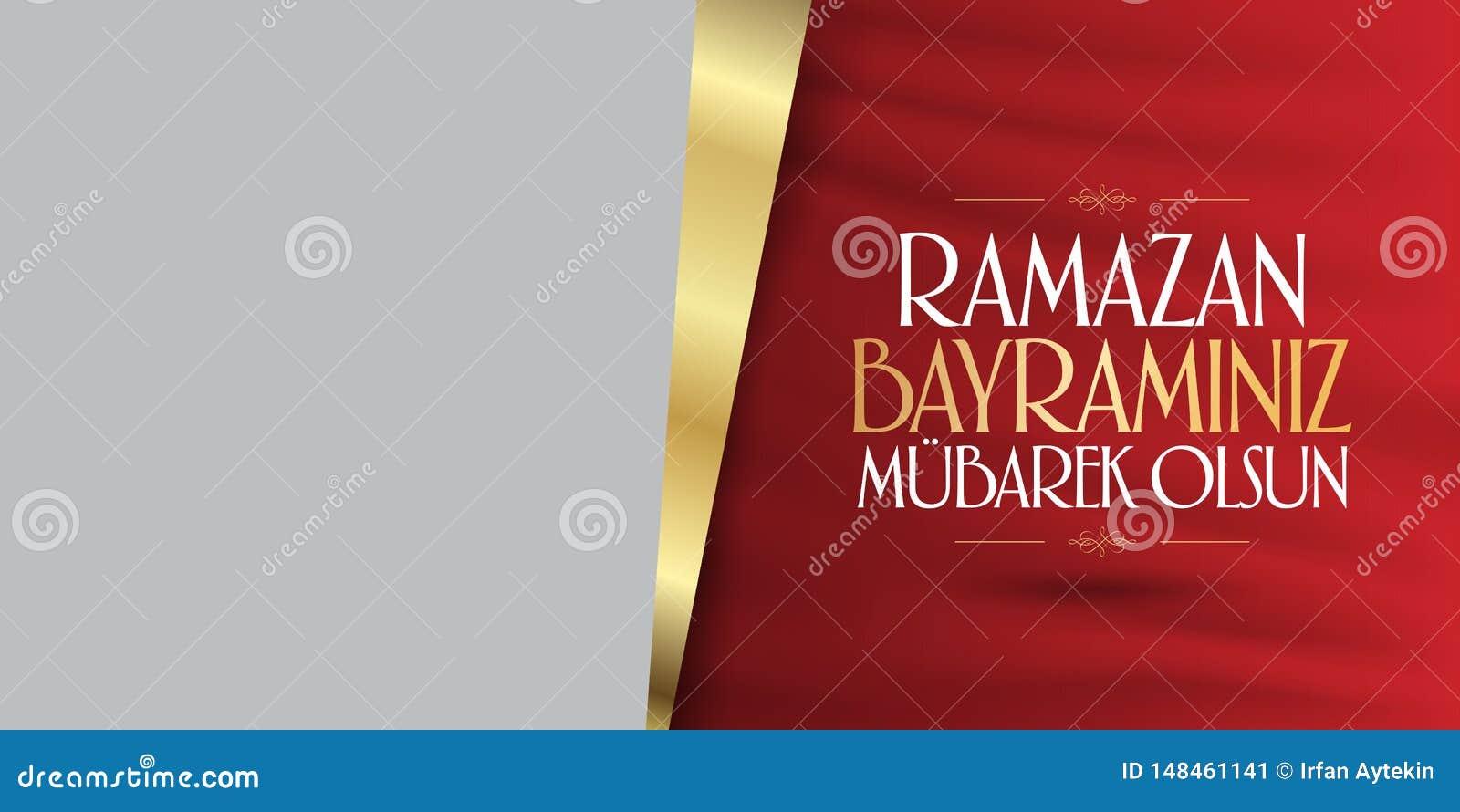 Cumprimentos de Eid al-Fitr Mubarak Islamic Feast turcos: Mês de Ramazan Bayraminiz Mubarek Olsun Holy da comunidade muçulmana Ra