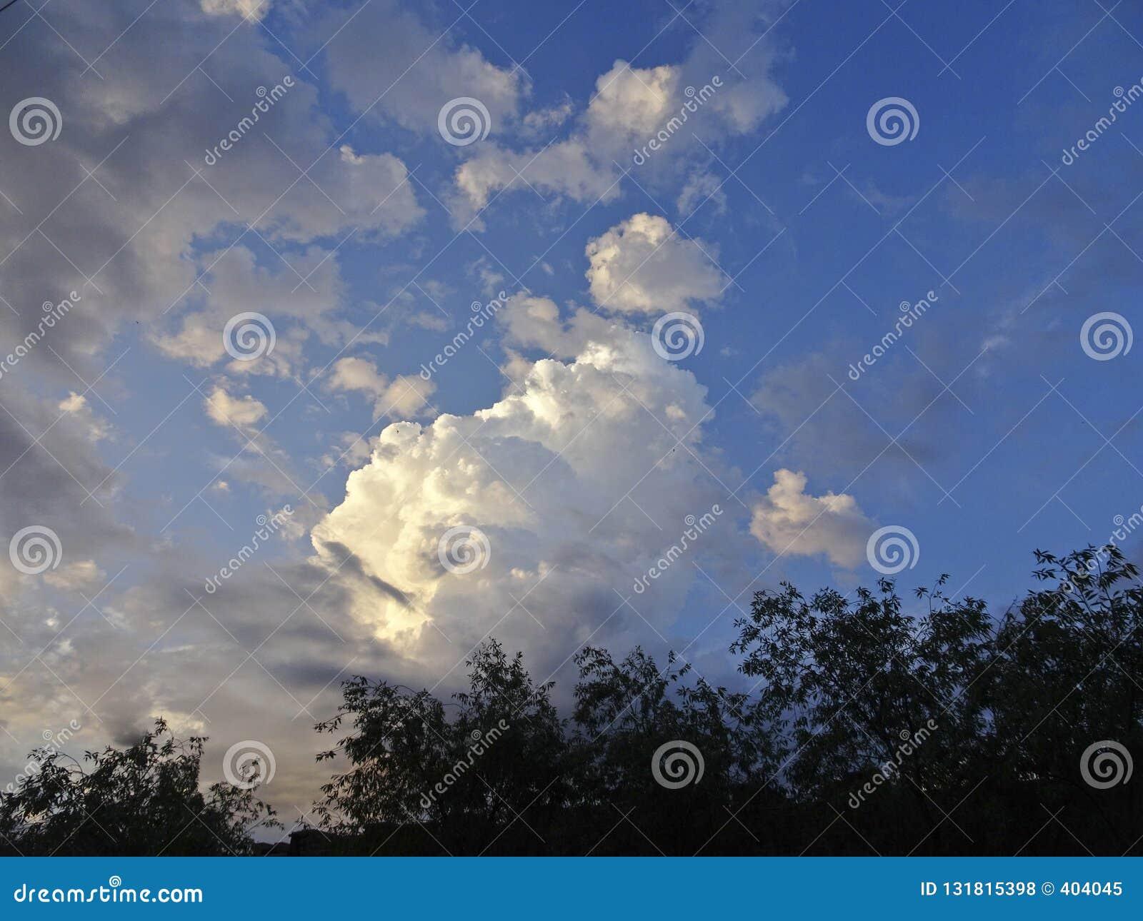 Cumulus et cirrus contre le ciel bleu