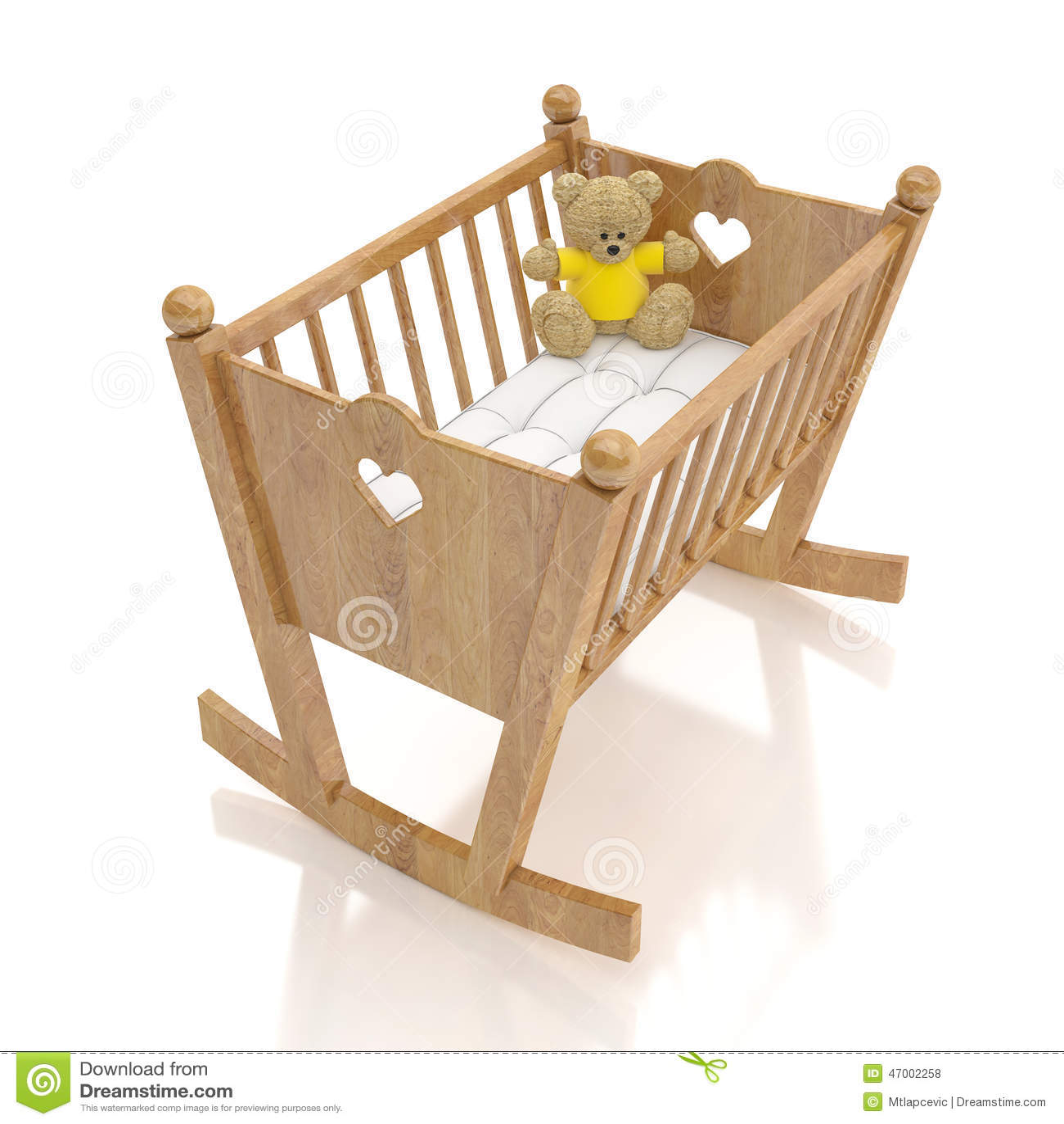 Cuna De Madera Del Bebé Con El Juguete Del Oso Aislado En El Fondo ...