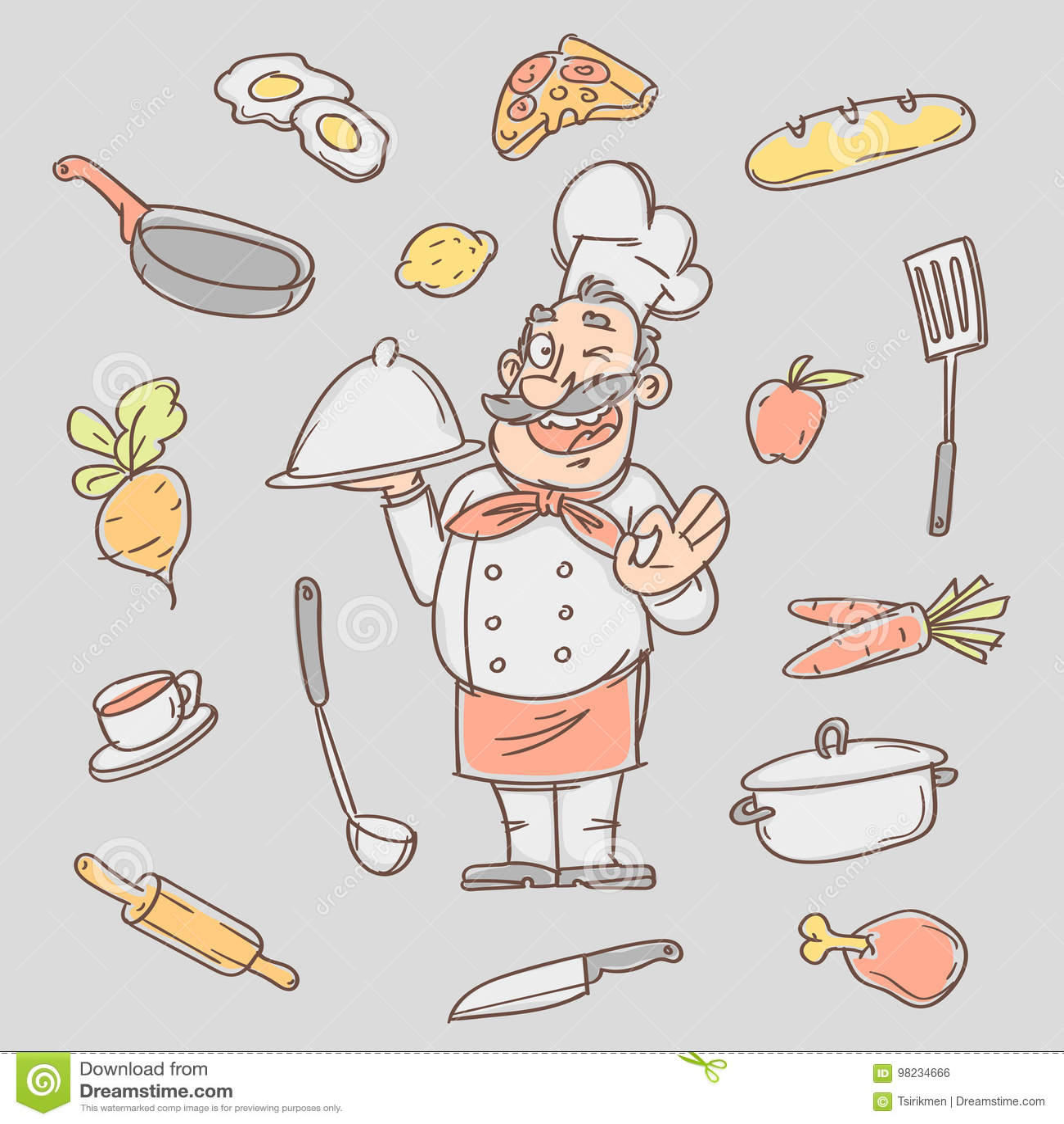 Cuoco Di Schizzo Del Disegno E Vari Oggetti Della Cucina ...