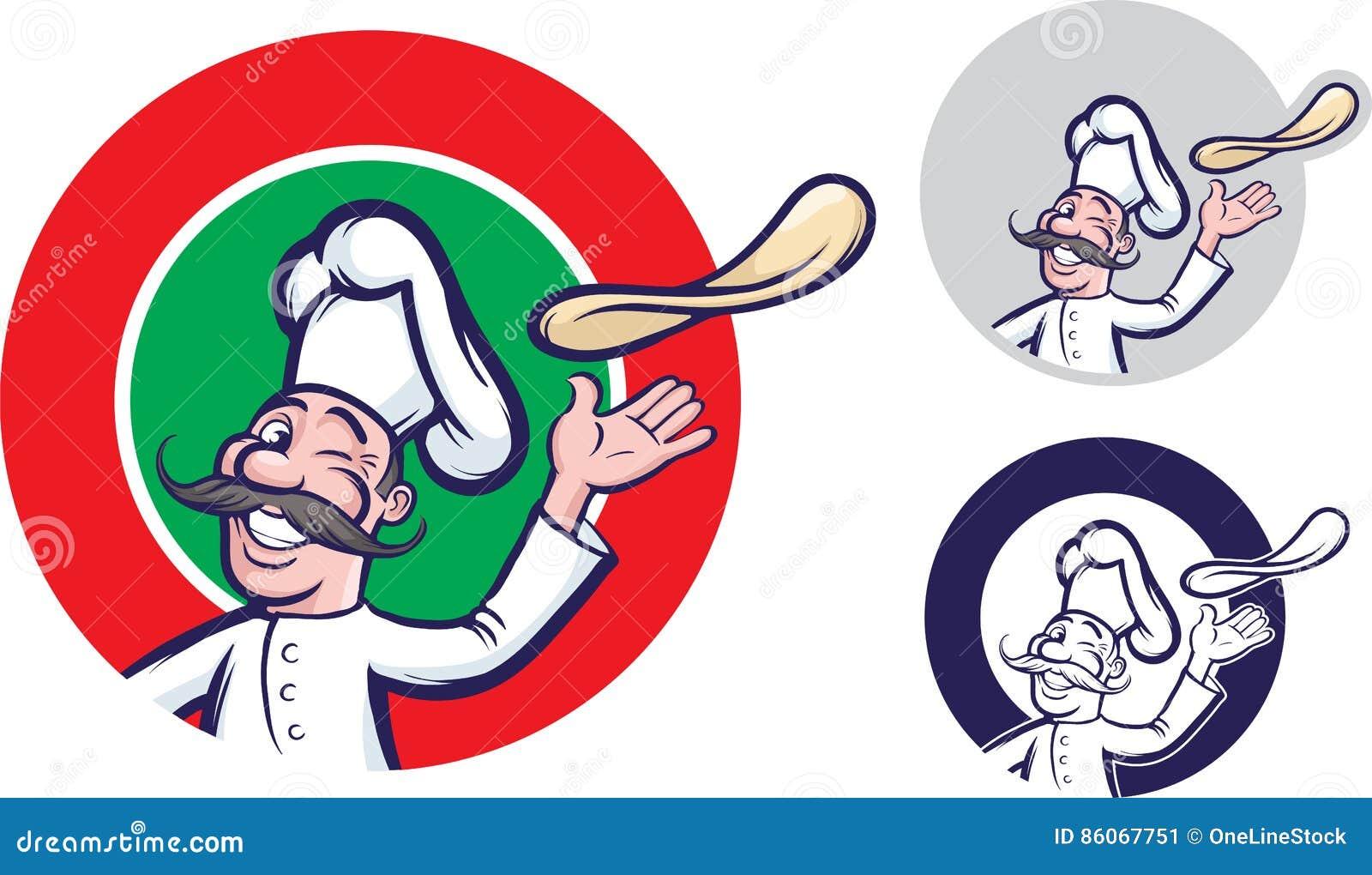 Cuoco unico allegro della pizza