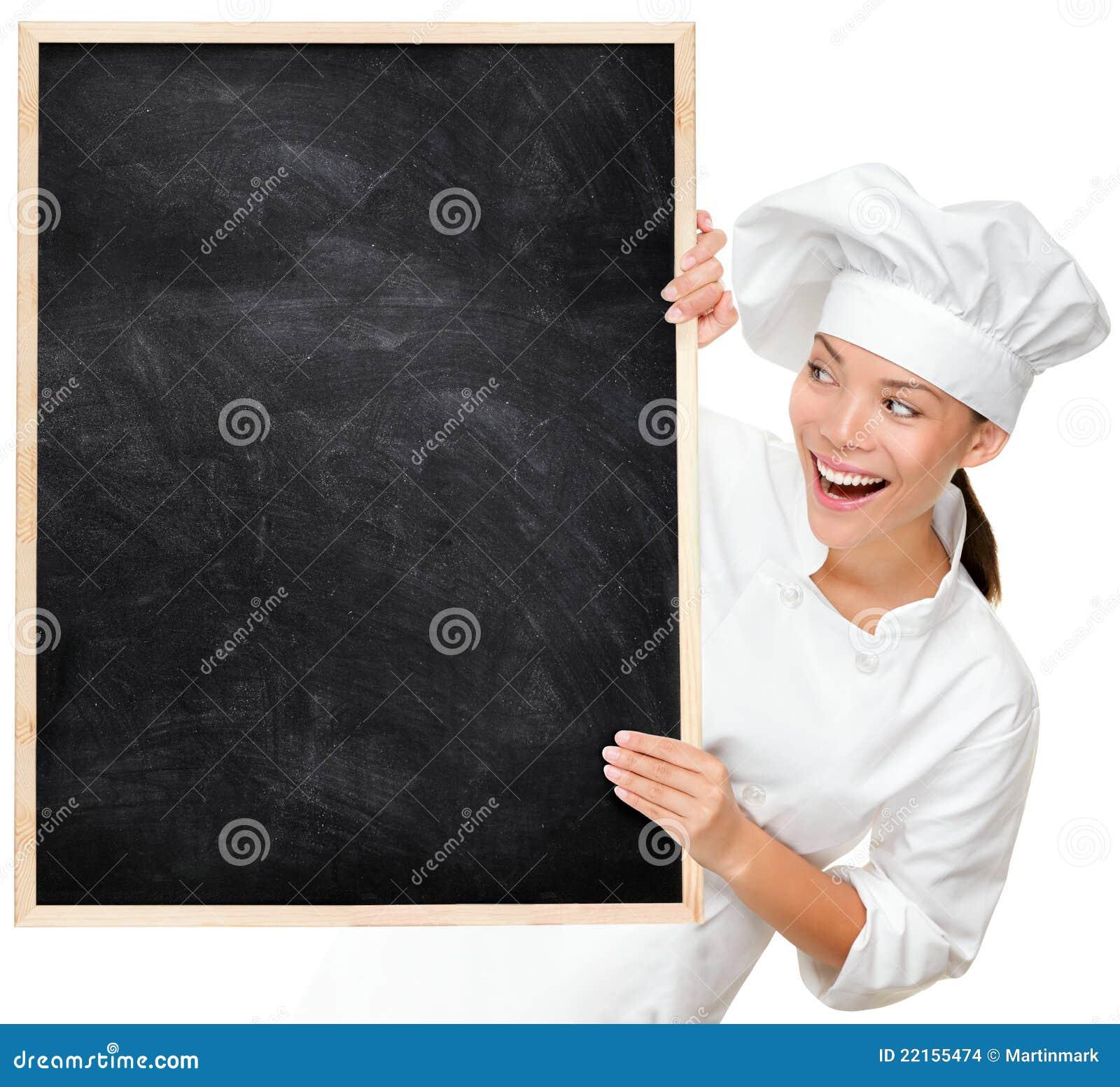 Cuoco unico che mostra il segno in bianco del menu
