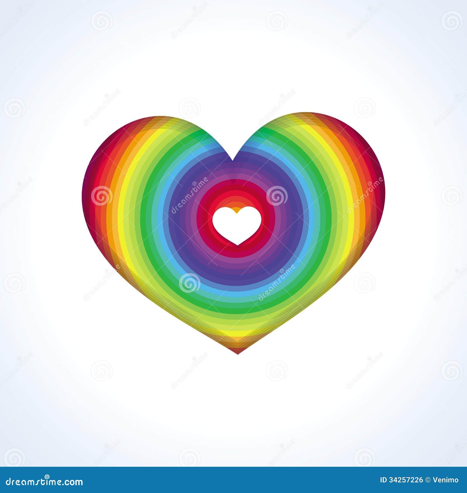 Cuore astratto di vettore nei colori dell 39 arcobaleno - Immagine di terra a colori ...