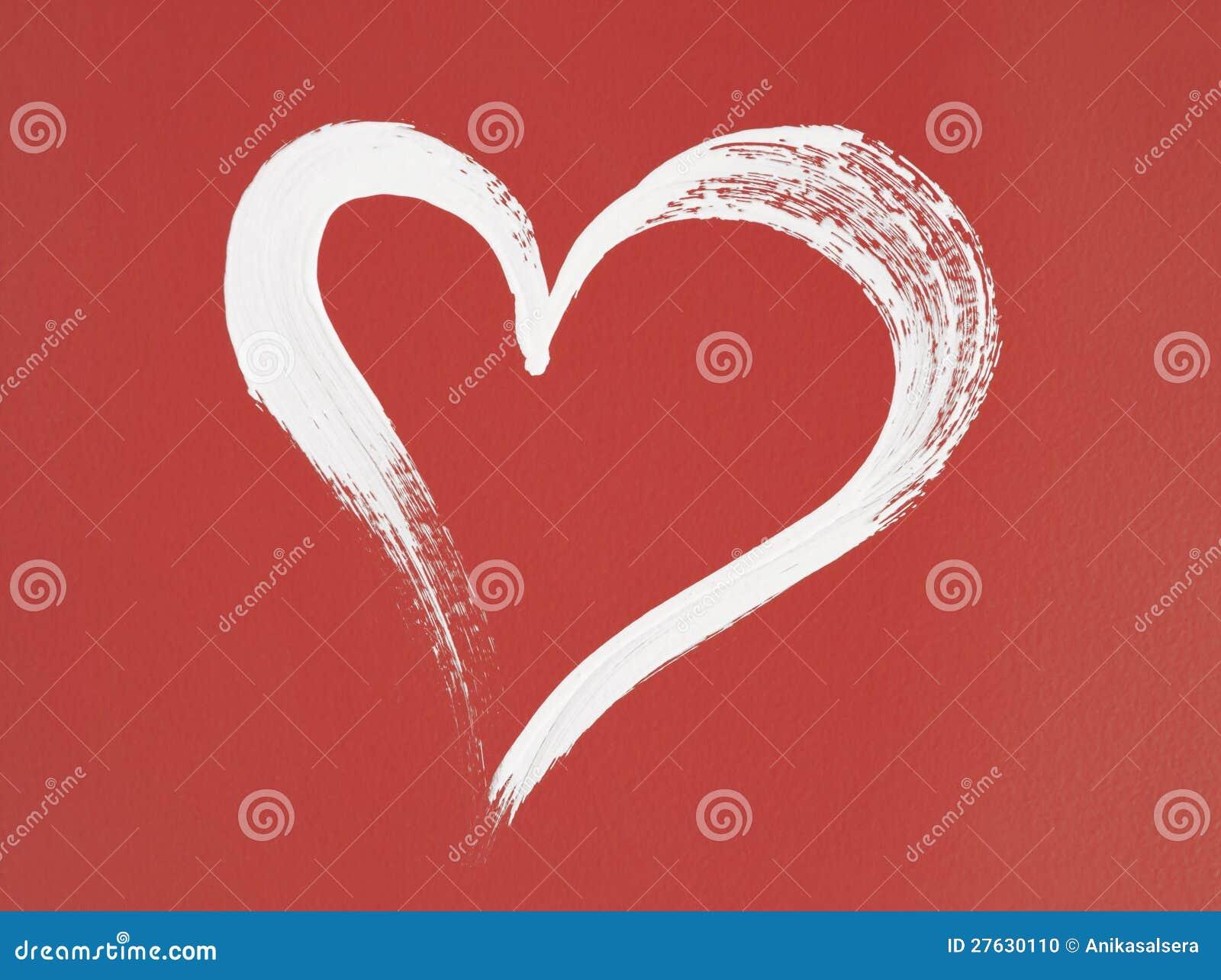 Puntero De Ubicación Con Un Corazón: Cuore Bianco Dipinto Su Fondo Rosso Fotografia Stock