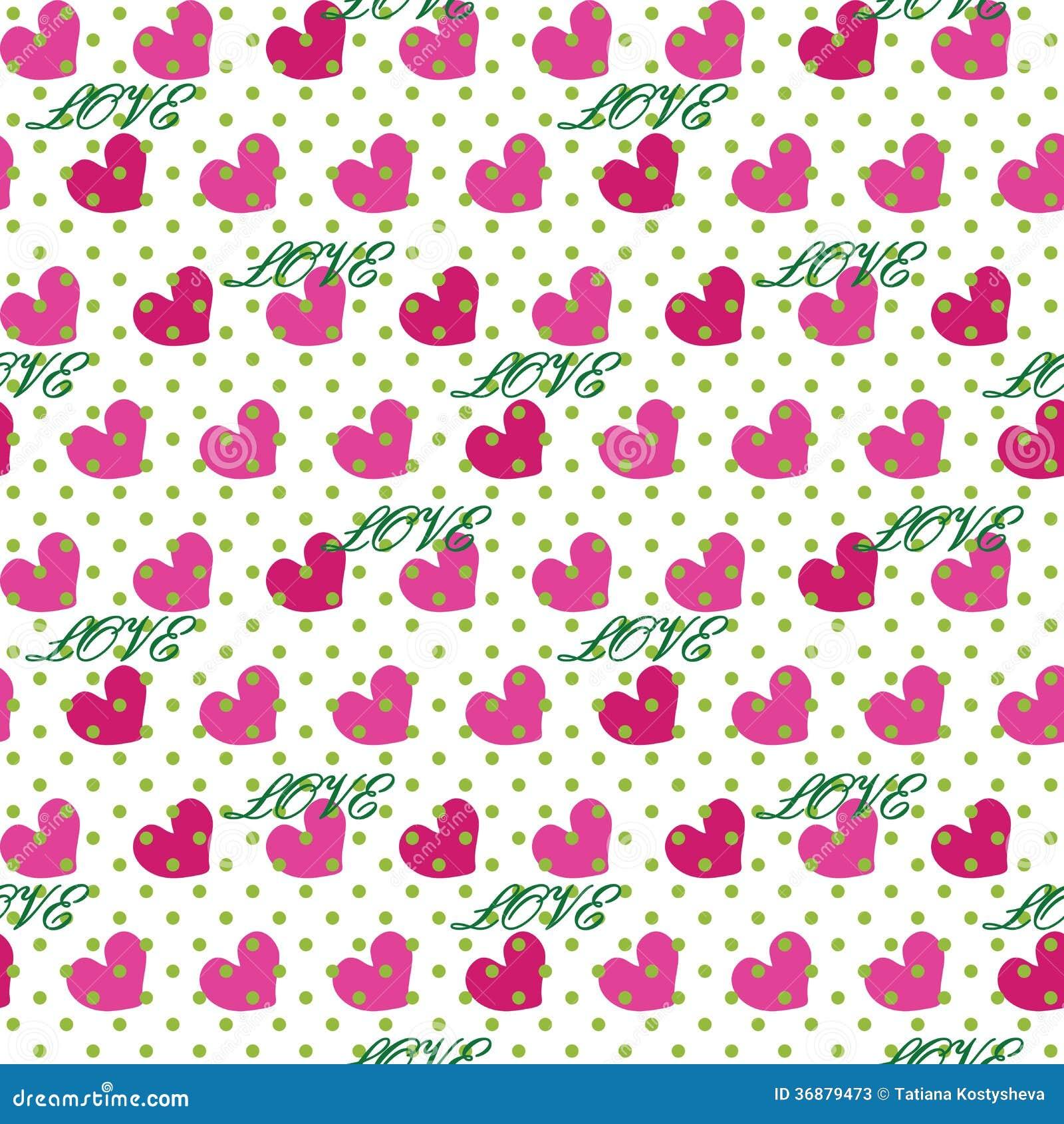 Download Cuore Con Il Pois E L'amore Di Parola. Picchiettio Senza Cuciture Illustrazione Vettoriale - Illustrazione di bianco, polka: 36879473