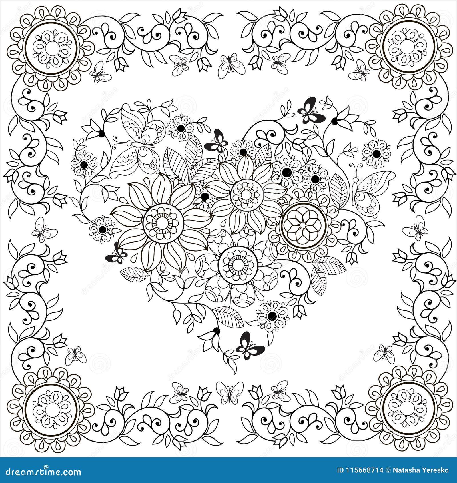Cuore Decorativo Del Libro Da Colorare Dei Fiori E Delle Farfalle