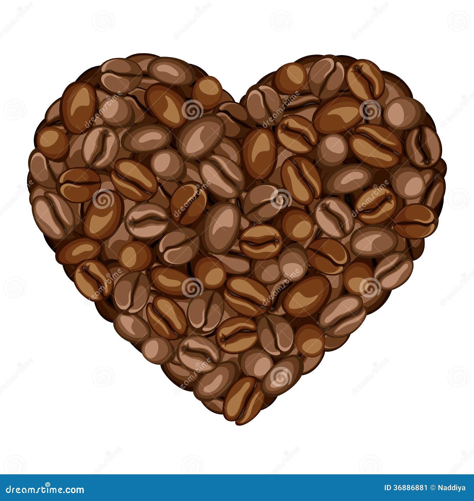 Download Cuore Dei Chicchi Di Caffè. Illustrazione Vettoriale - Illustrazione di alimento, brown: 36886881