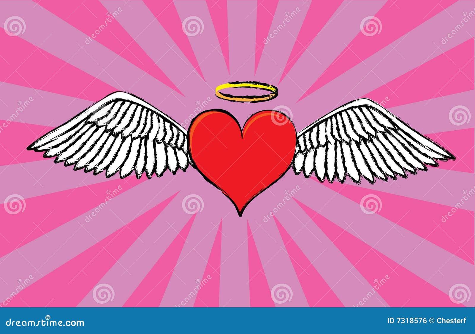 Cuore del biglietto di S. Valentino di angelo