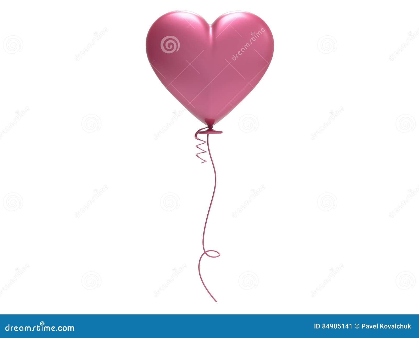 Cuore del pallone di rosa dell illustrazione 3D