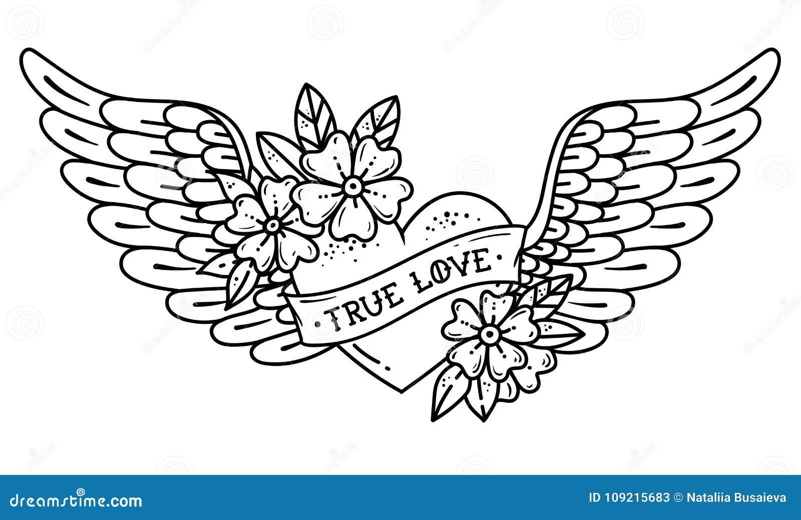 Cuore Di Volo Del Tatuaggio Con Le Ali Cuore Del Tatuaggio Con Il Nastro Ed I Fiori Amore Allineare Illustrazione In Bianco E Ner Illustrazione Vettoriale Illustrazione Di Romanzesco Immagine 109215683