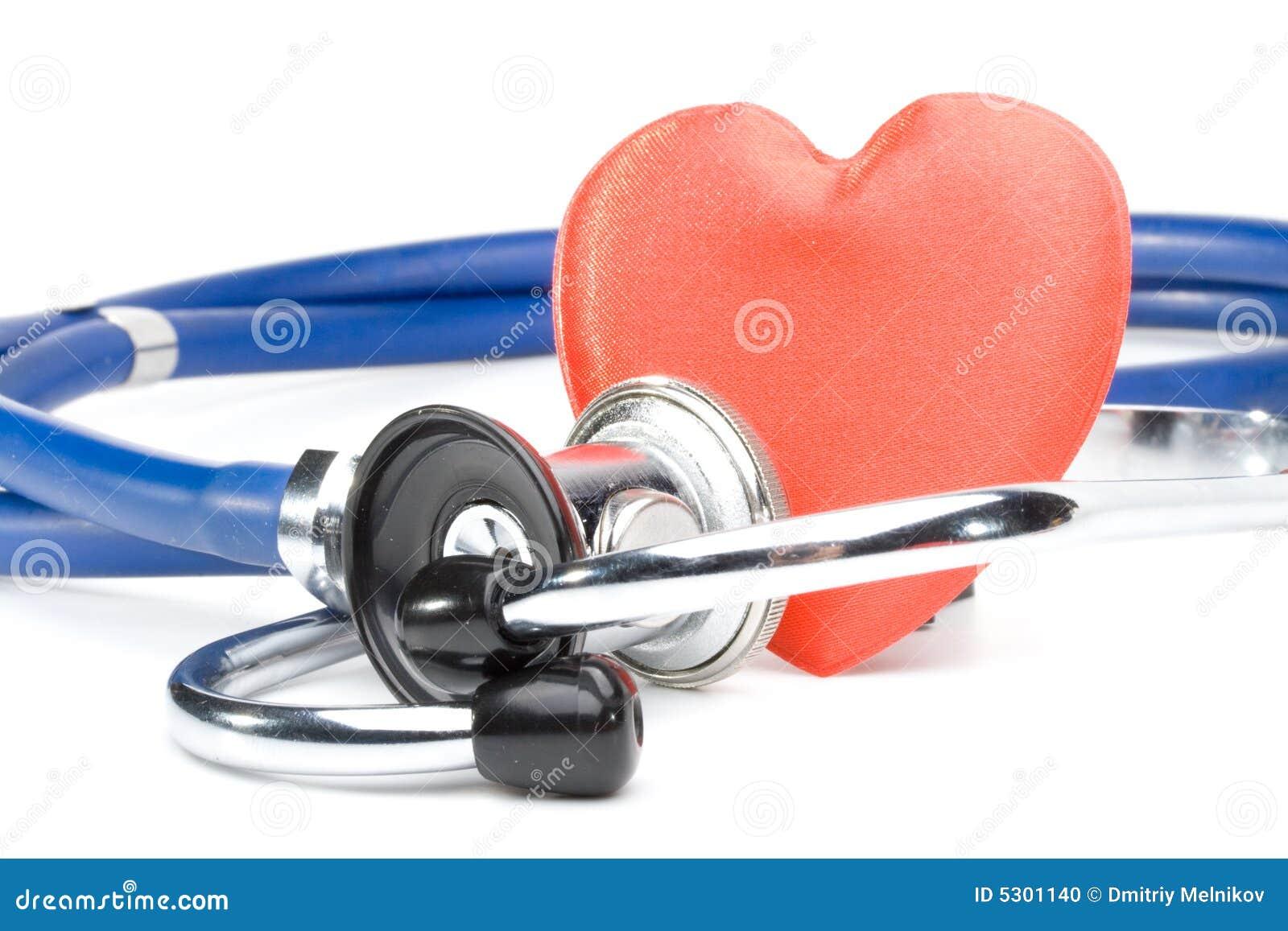 Download Cuore e uno stetoscopio fotografia stock. Immagine di professione - 5301140