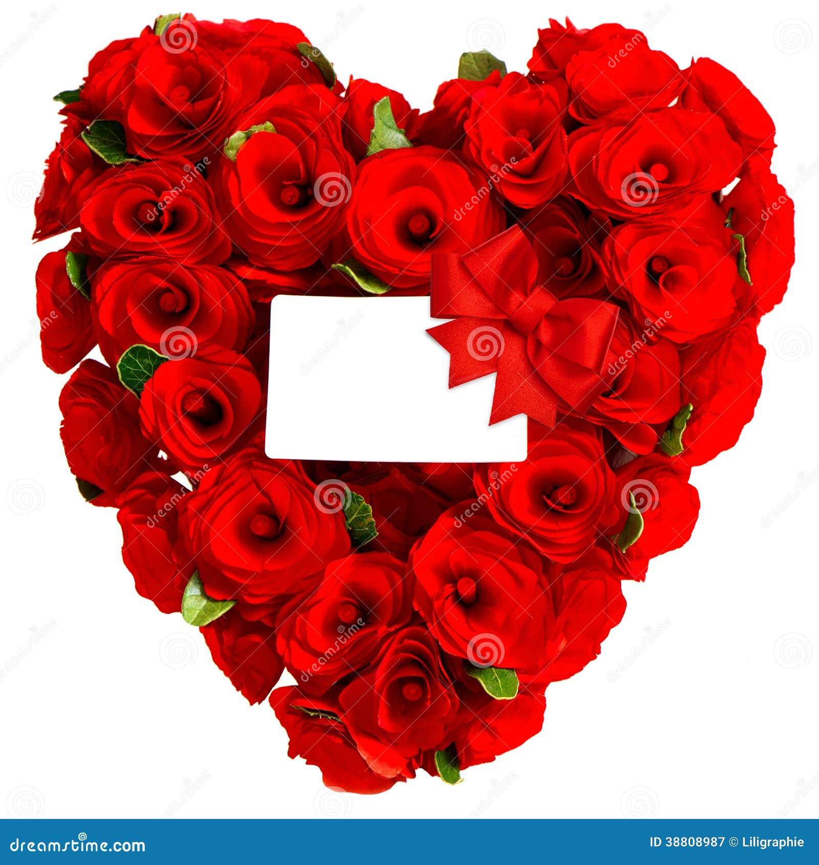 cuore rosso dei fiori rosa con la carta bianca immagine stock immagine 38808987. Black Bedroom Furniture Sets. Home Design Ideas