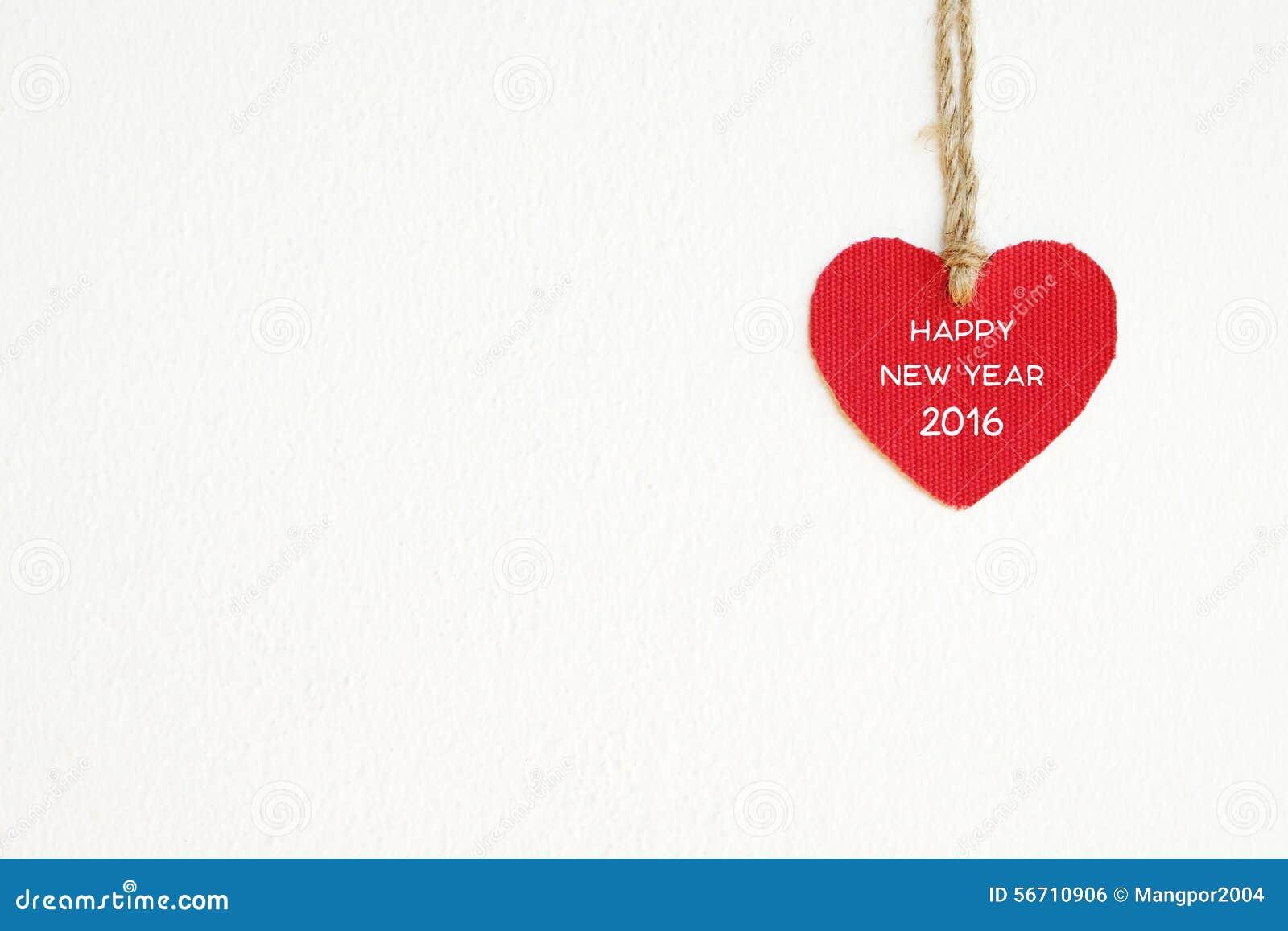 New year 2016 stock photo image 58693644 - Cuore Rosso Del Tessuto Con La Parola Del Buon Anno 2016 Che Appende Sul Cl Immagine