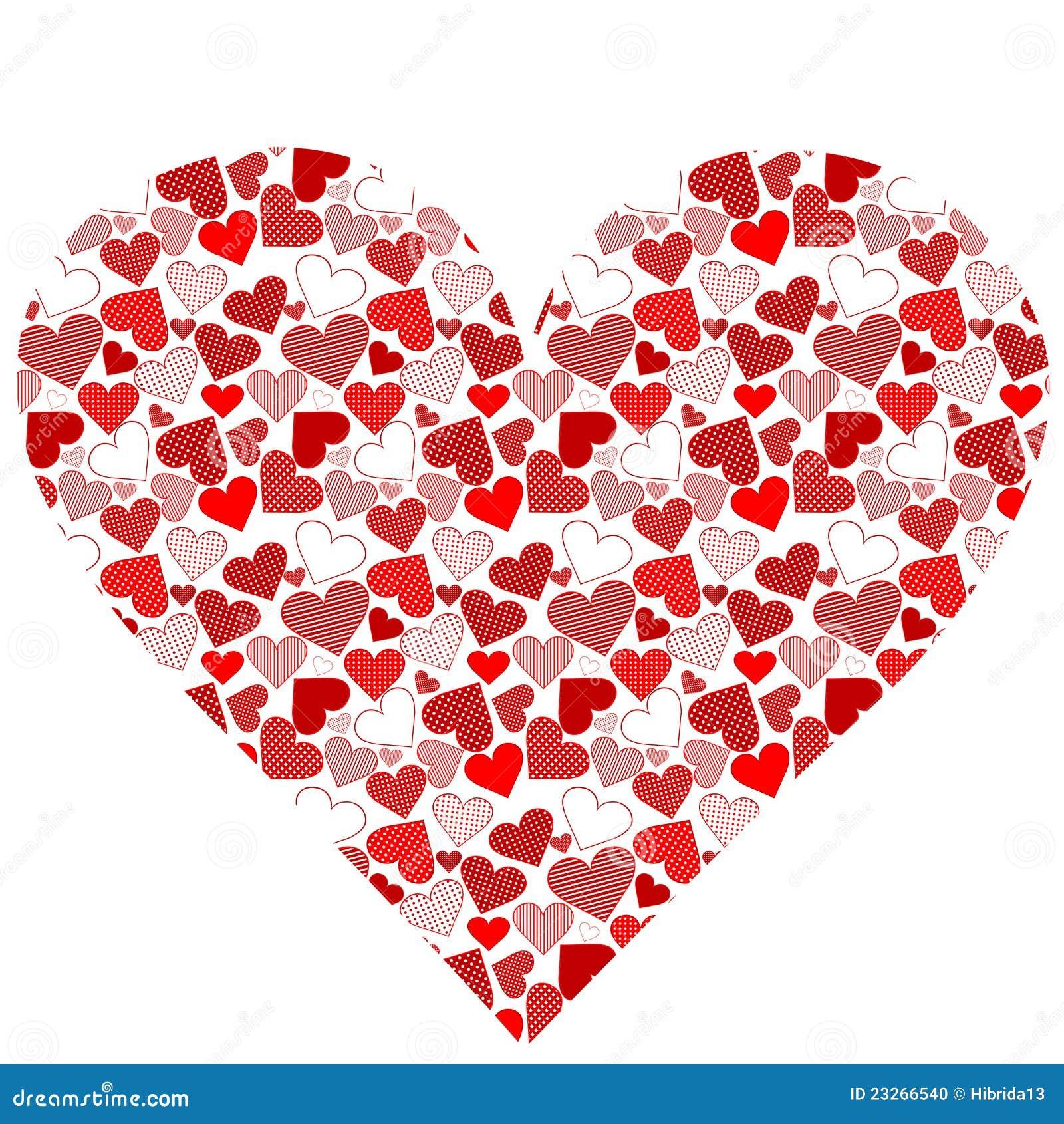 Cuore stilizzato fatto dai cuori illustrazione vettoriale for Clipart cuore
