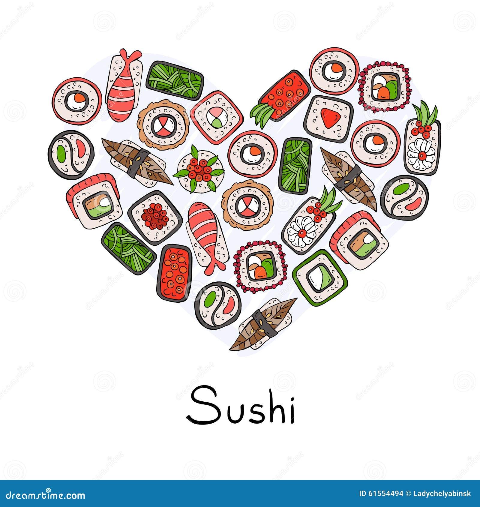 Cuore stilizzato sul tema di alimento giapponese