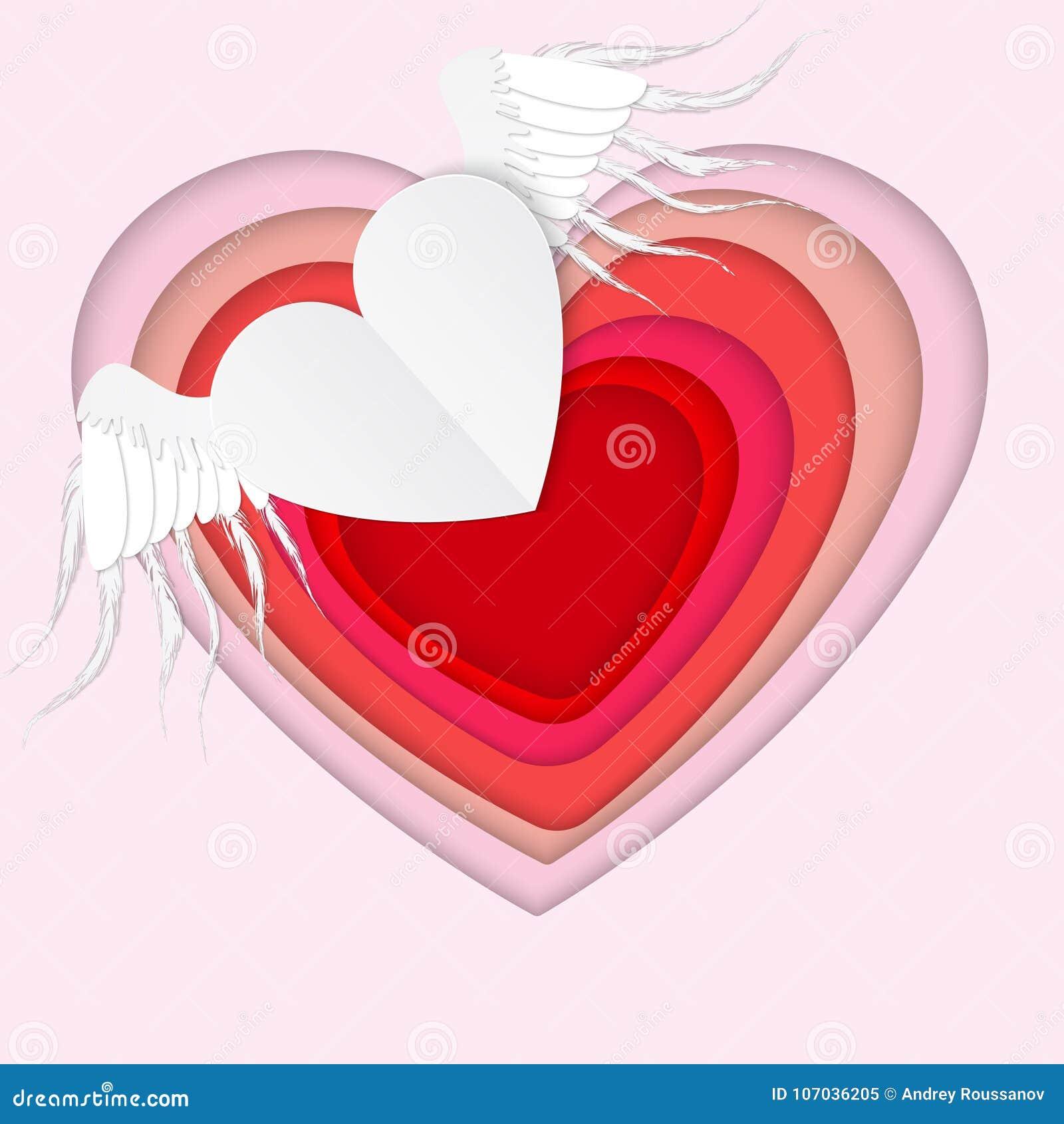 Cuore volante del Libro Bianco con le ali su fondo rosa valentin