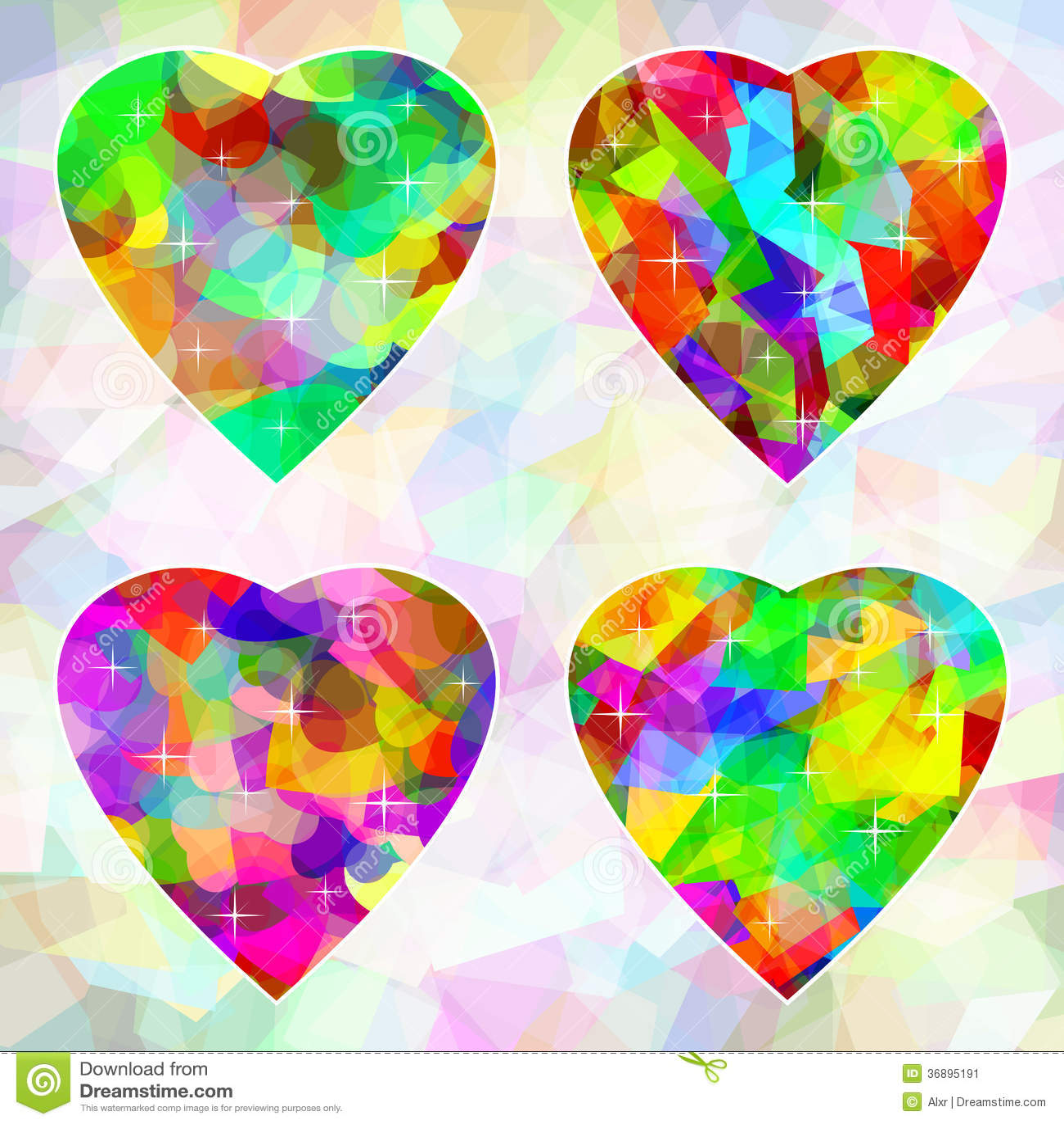 Download Cuori Astratti Multicolori Su Fondo Illustrazione Vettoriale - Illustrazione di amore, insieme: 36895191
