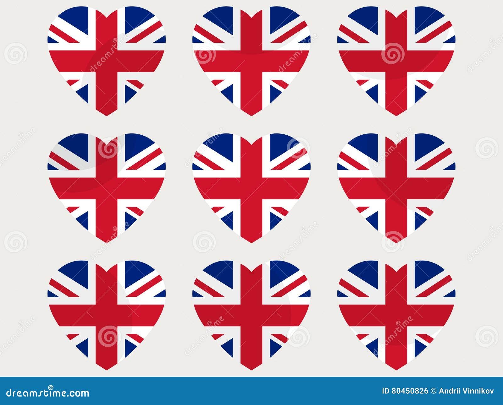 Cuori con la bandiera britannica amo il regno unito - Mappa dell inghilterra per i bambini ...