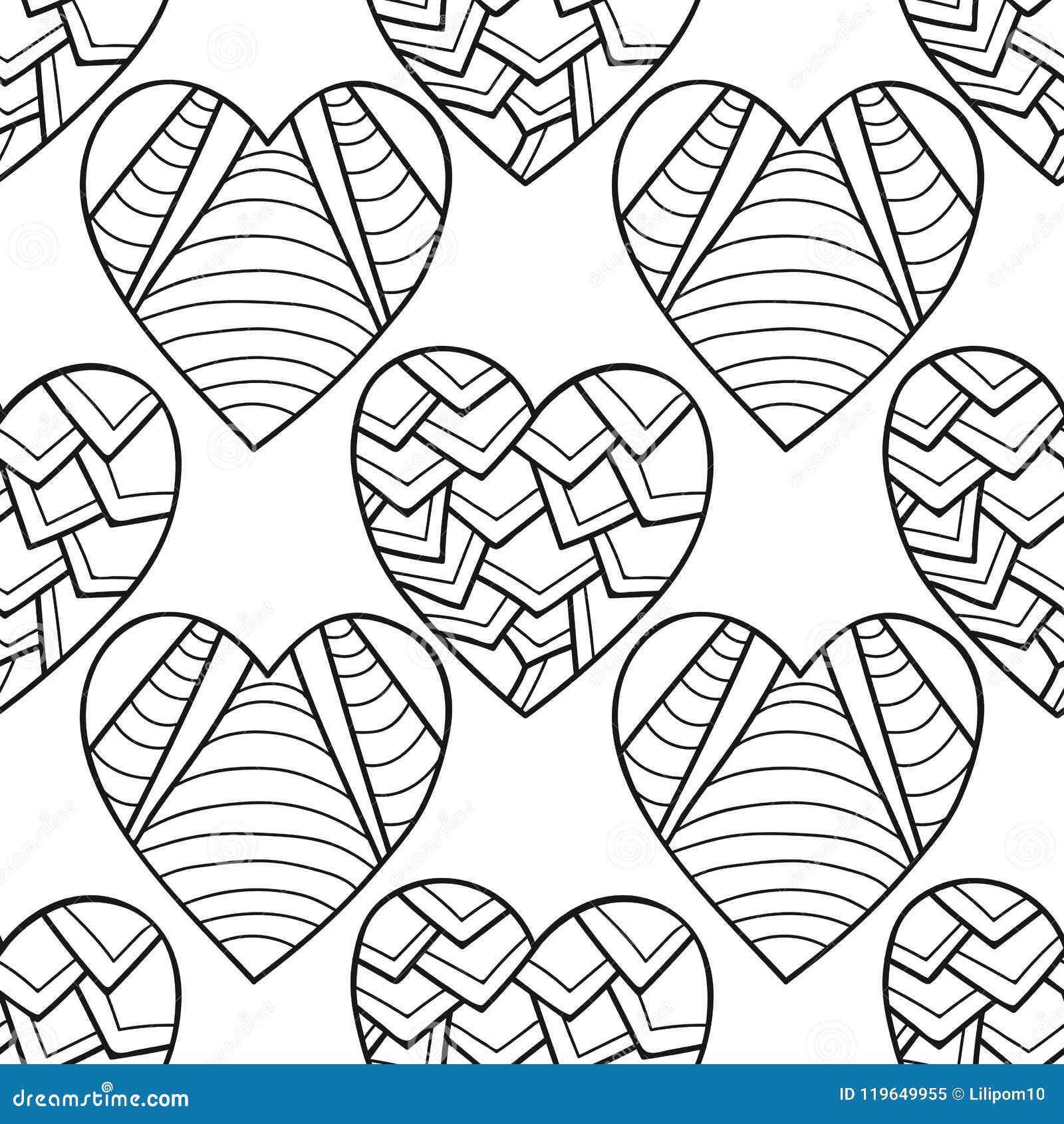 Cuori Decorativi Illustrazione In Bianco E Nero Per Il Libro Da