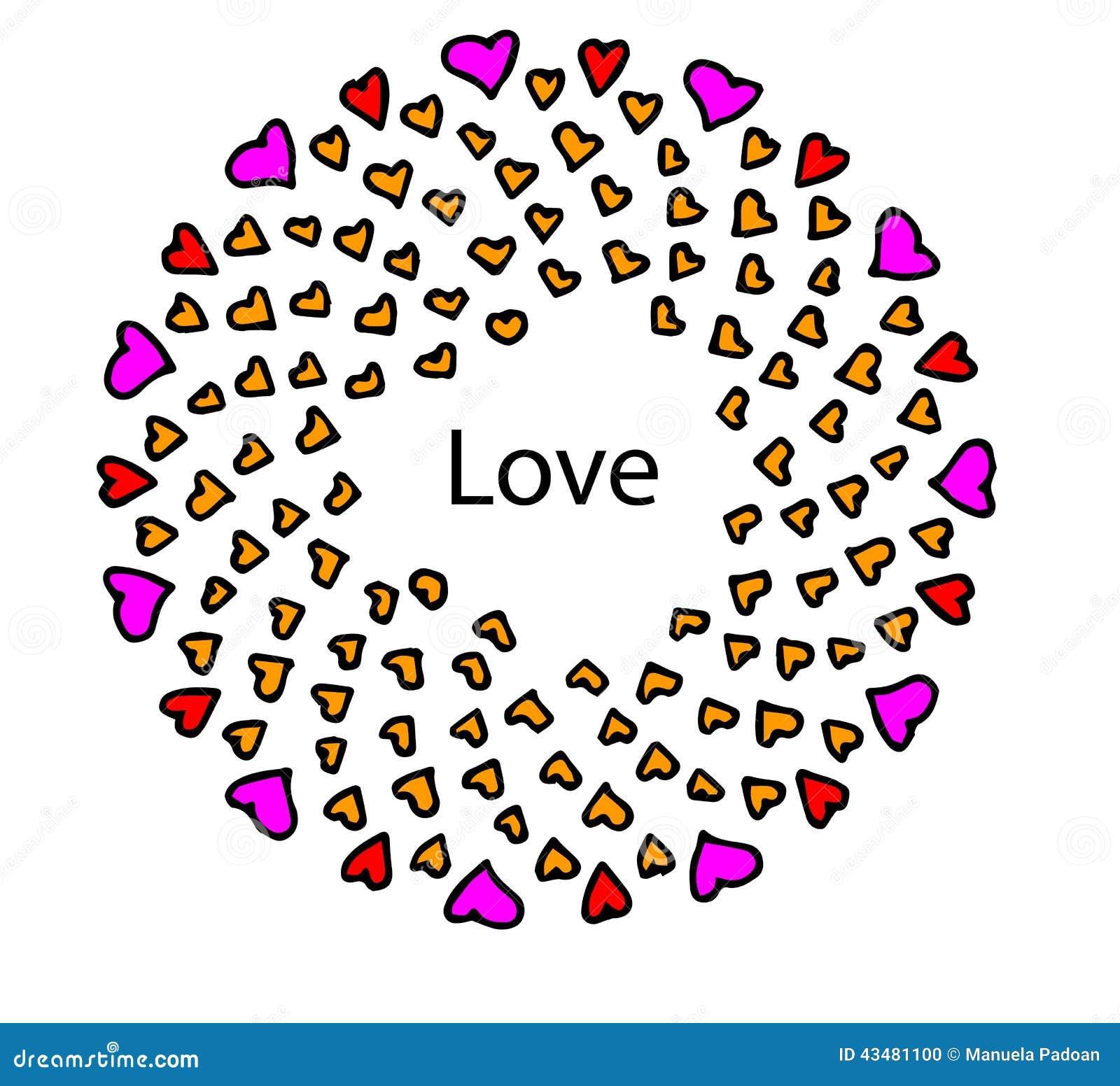 Cuori Di Amore E Di Amicizia Su Un Fondo Bianco Illustrazione Di