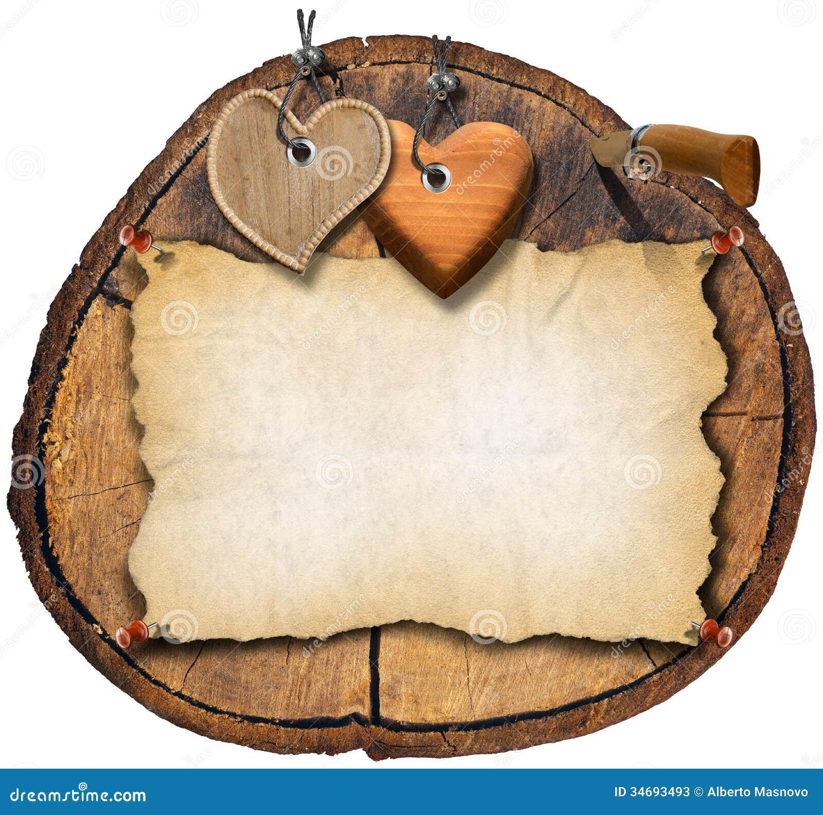 Cuori di legno di brown sulla sezione del tronco for Piccoli oggetti in legno fatti a mano