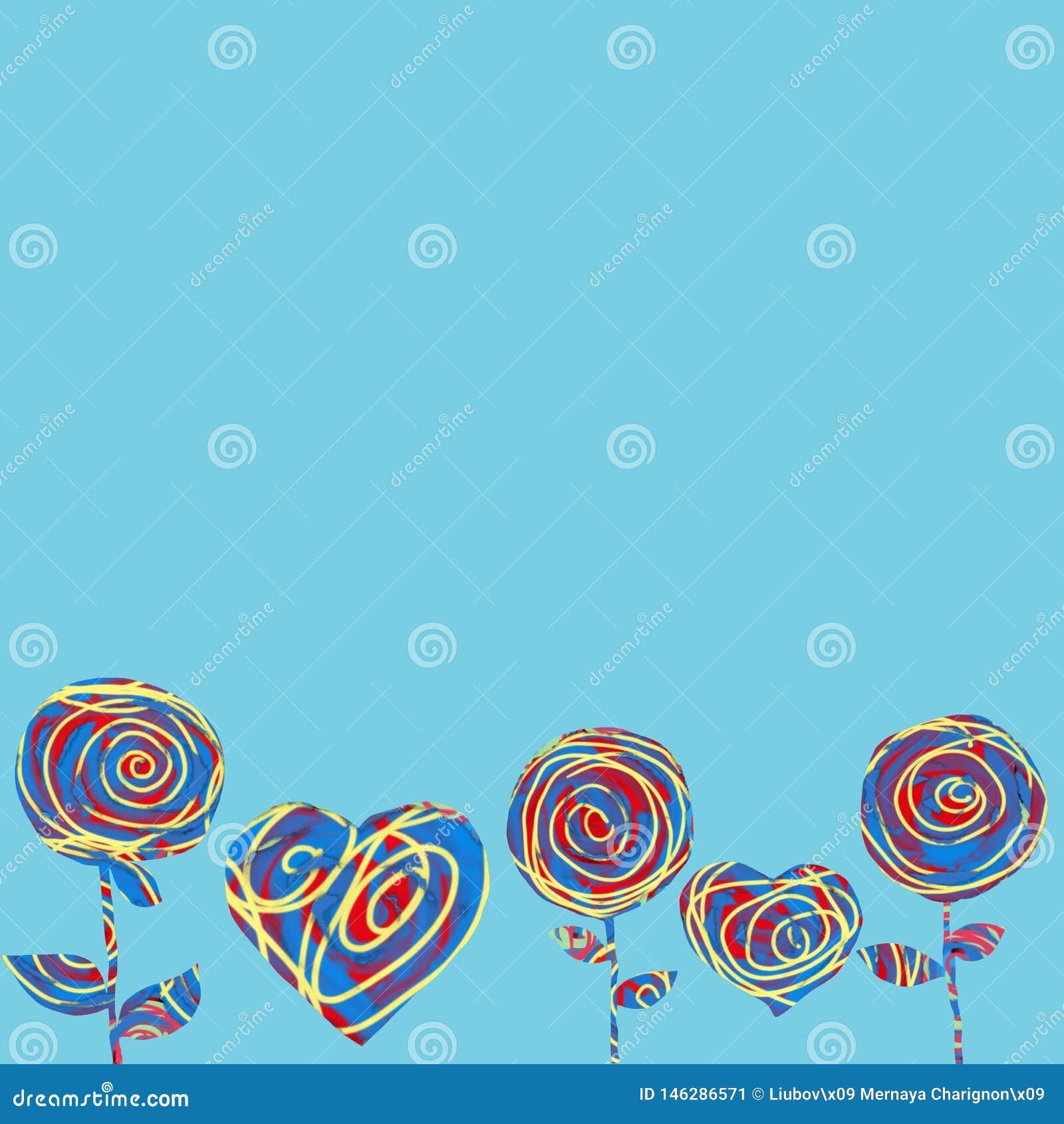 Cuori e fiori del collage su un fondo blu Cartolina d auguri astratta per il giorno di Valentine's