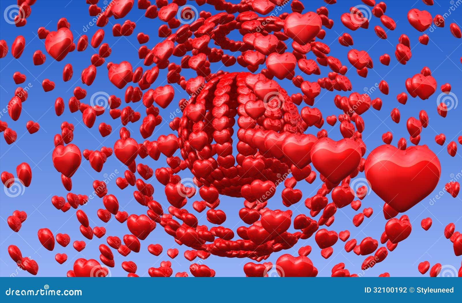 Cuori rossi di amore in cielo blu fotografia stock for Immagini di cuori rossi