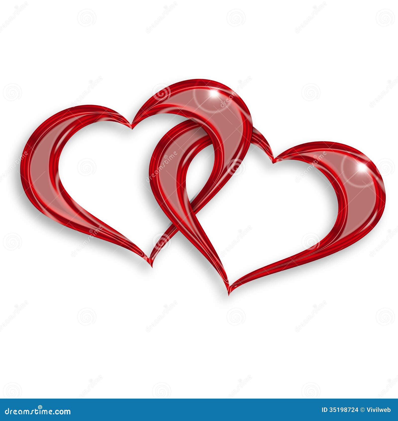 Cuori rossi intrecciati illustrazione di stock for Immagini di cuori rossi
