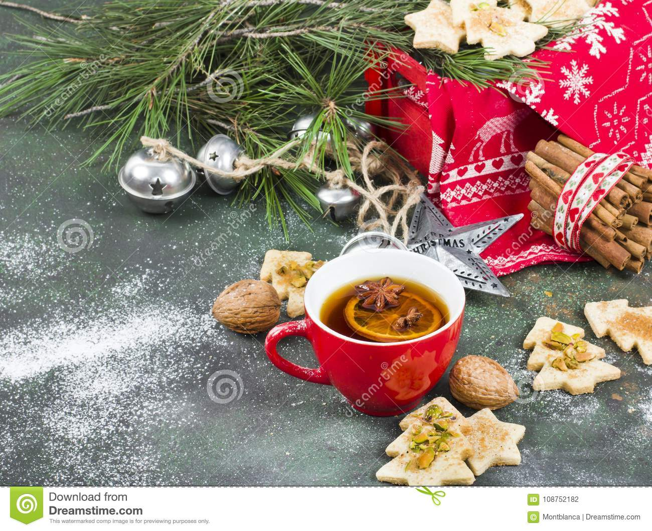 Cup Of Aromatic Tea With Christmas Tree Shape Cookies Spices An