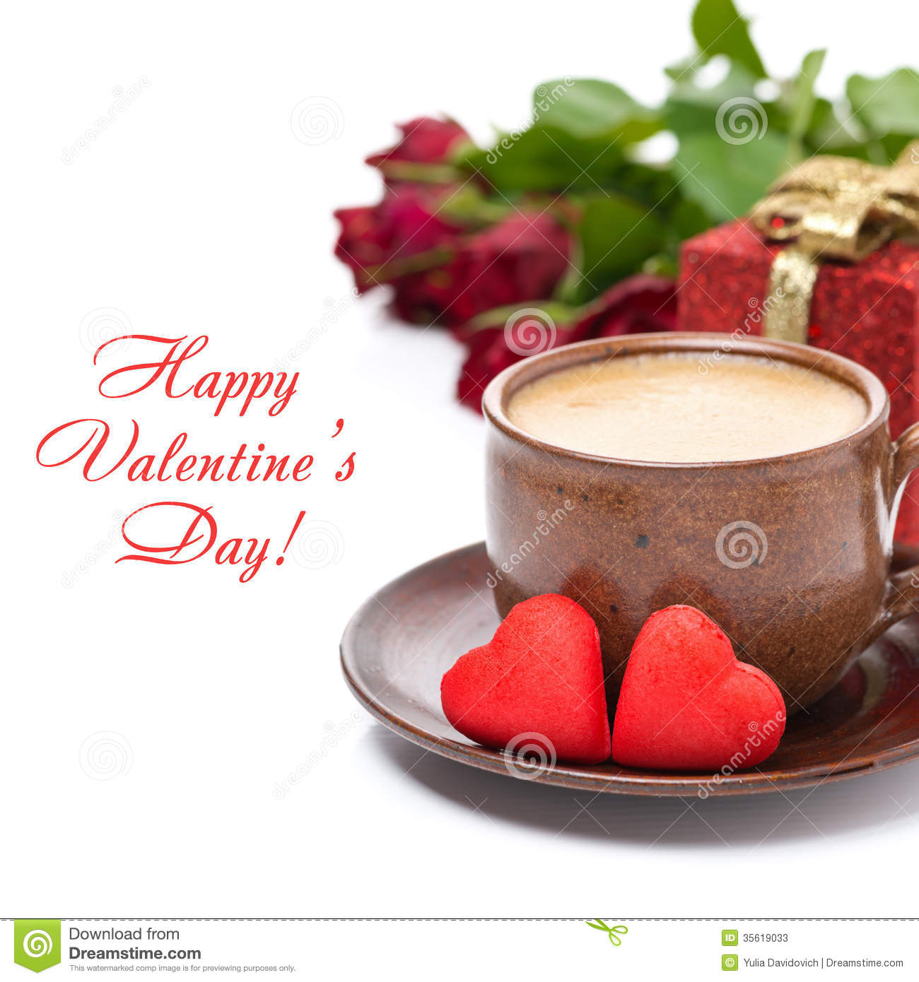 Cup Of Black Coffee, Red Candy, Gift, Roses For Valentine S Day
