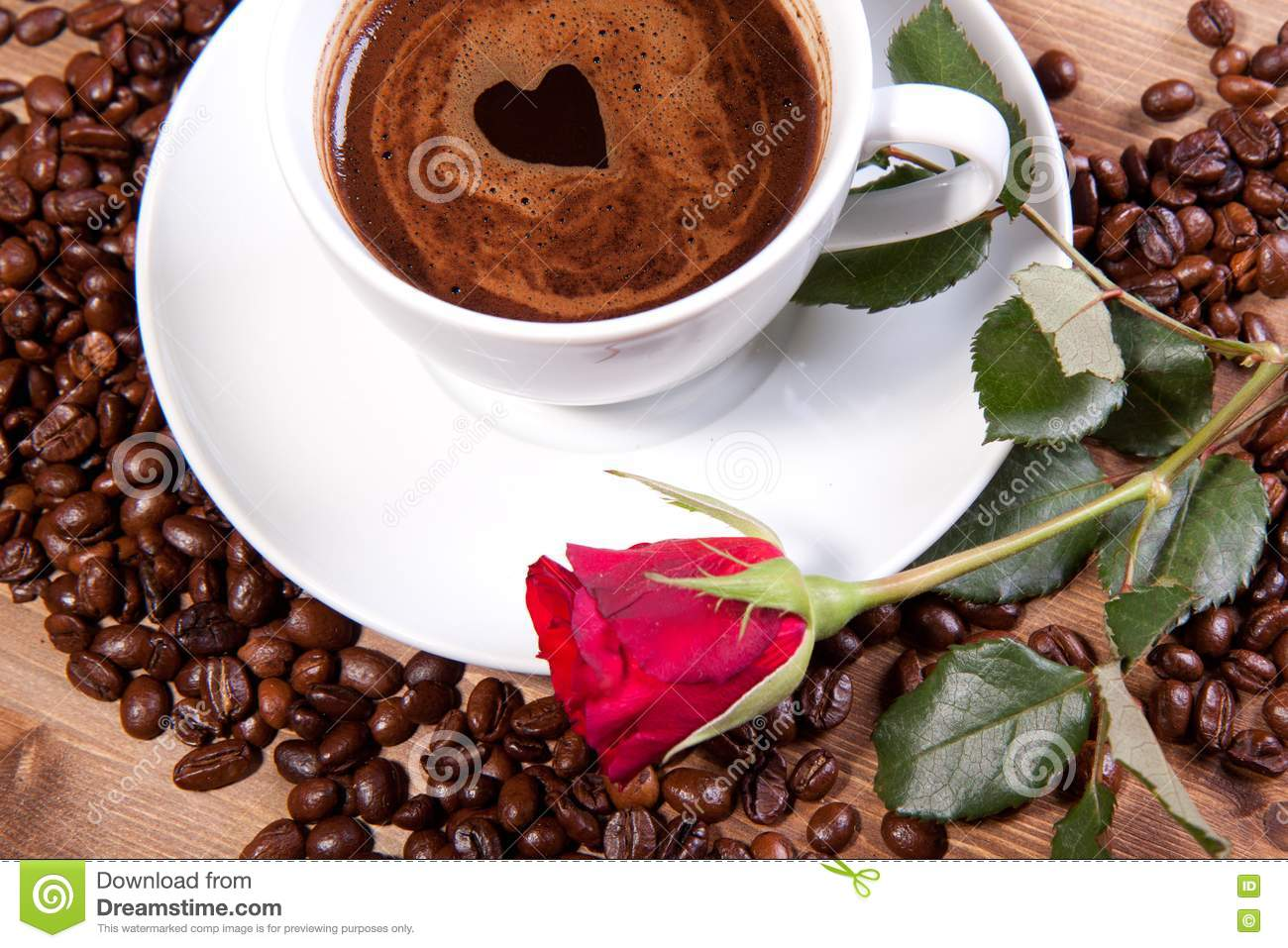Cup Of Black Coffee And Red Rose Stock Photo Image Of