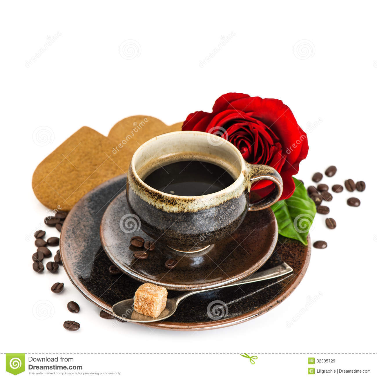 Cup of black coffee and red rose flower and cake on white - Image tasse de cafe ...