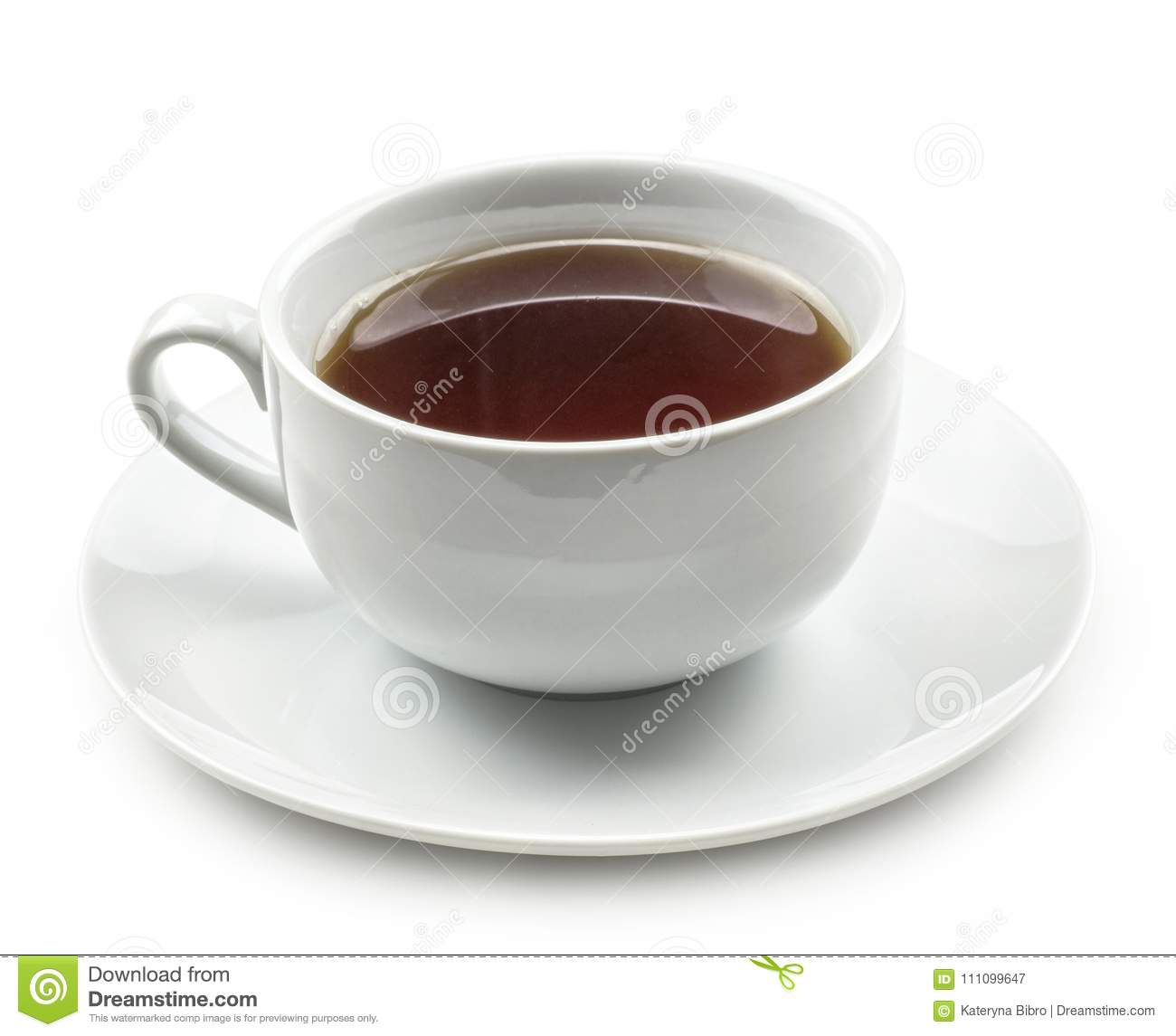 Cup of black tea isolated on white