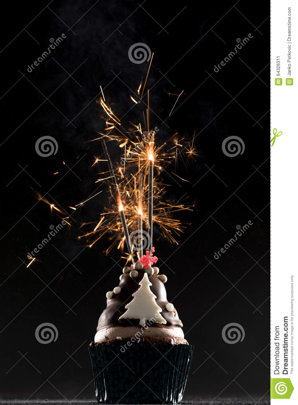 Cup Cake With Firework And Birthday Candles Stock Photo 64326311